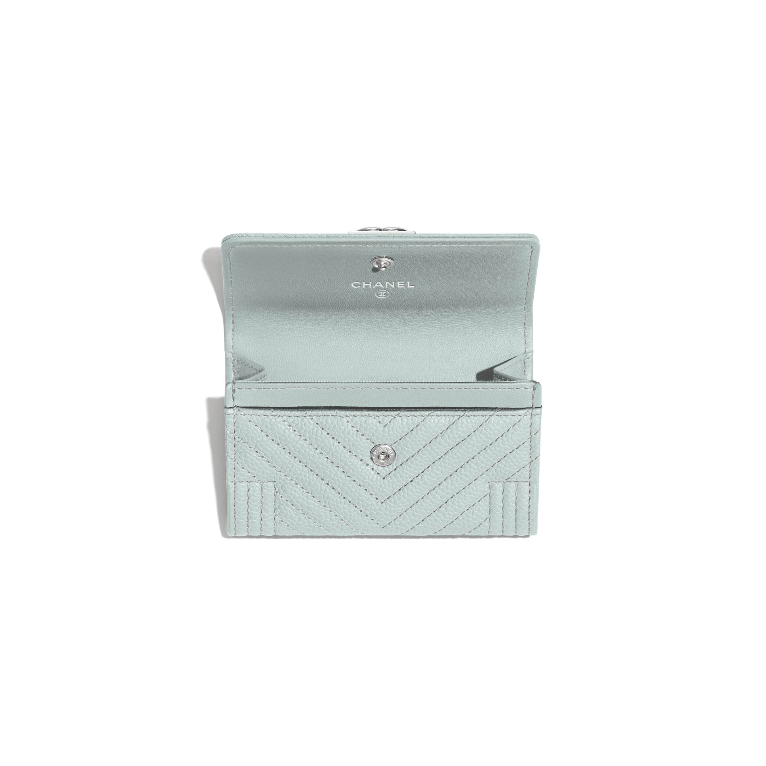 BOY CHANEL Flap Card Holder - Light Blue - Shiny Grained Calfskin & Silver-Tone Metal - Other view - see standard sized version