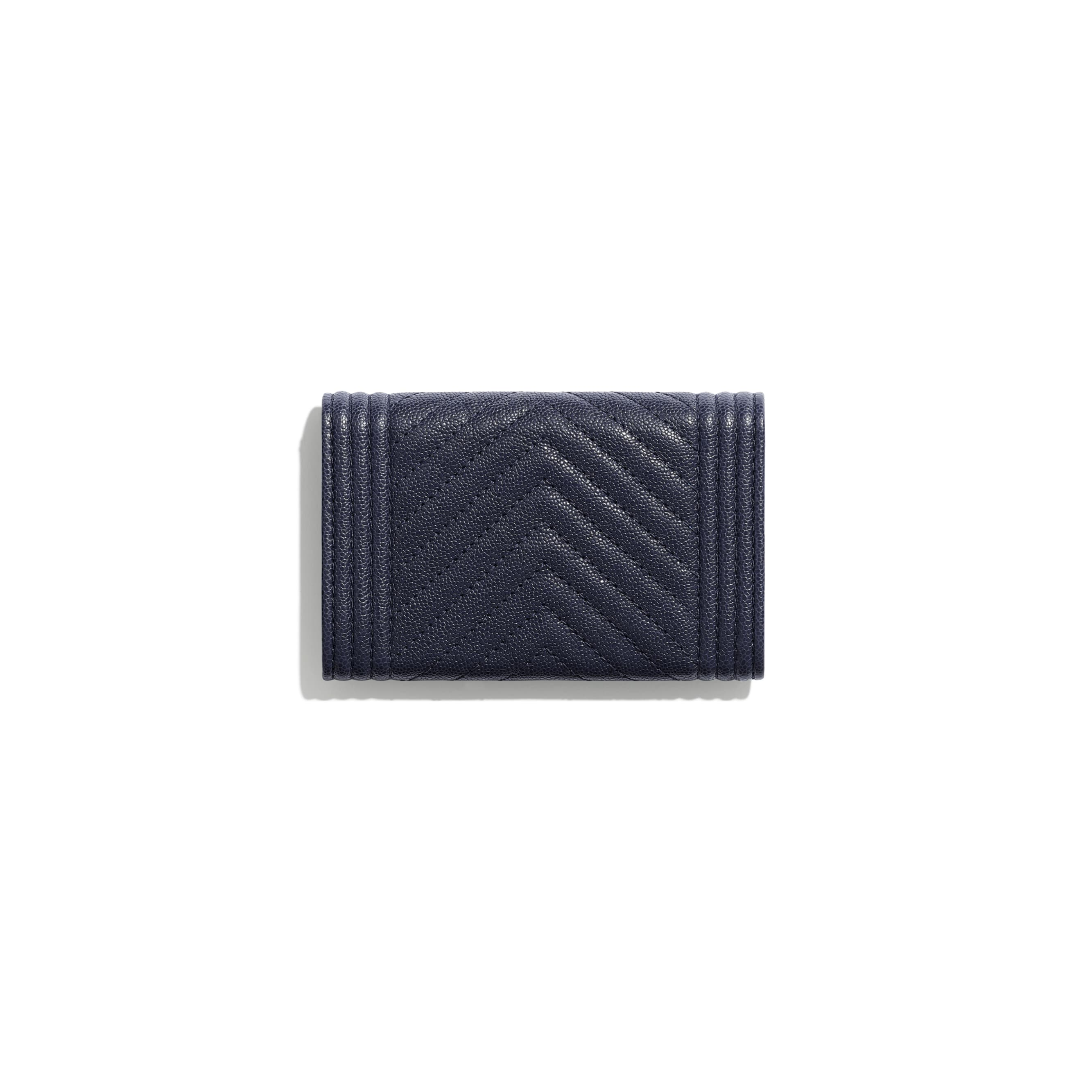 BOY CHANEL Flap Card Holder - Navy Blue - Grained Calfskin & Gold-Tone Metal - Alternative view - see standard sized version