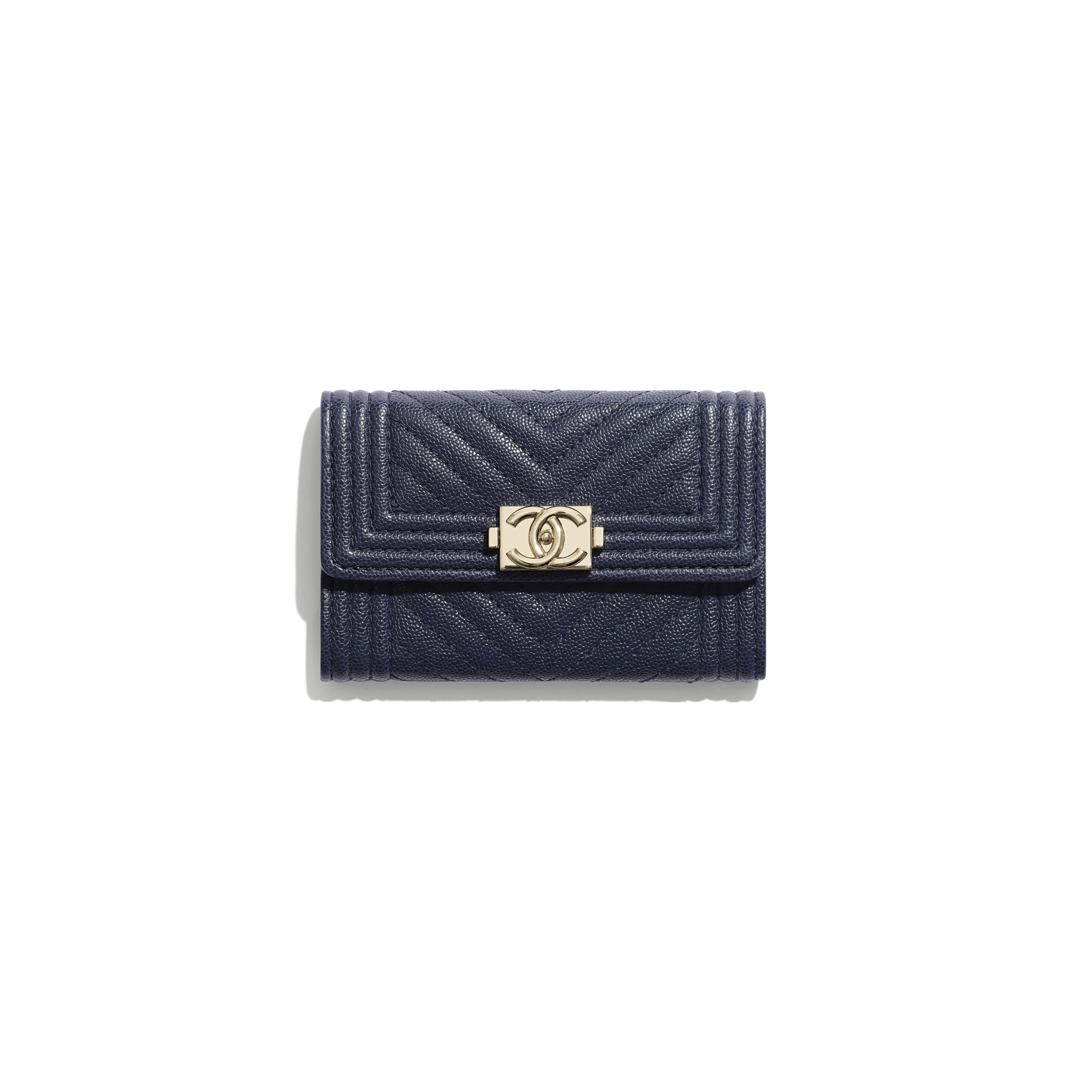 BOY CHANEL Flap Card Holder - Navy Blue - Grained Calfskin & Gold-Tone Metal - Default view - see standard sized version