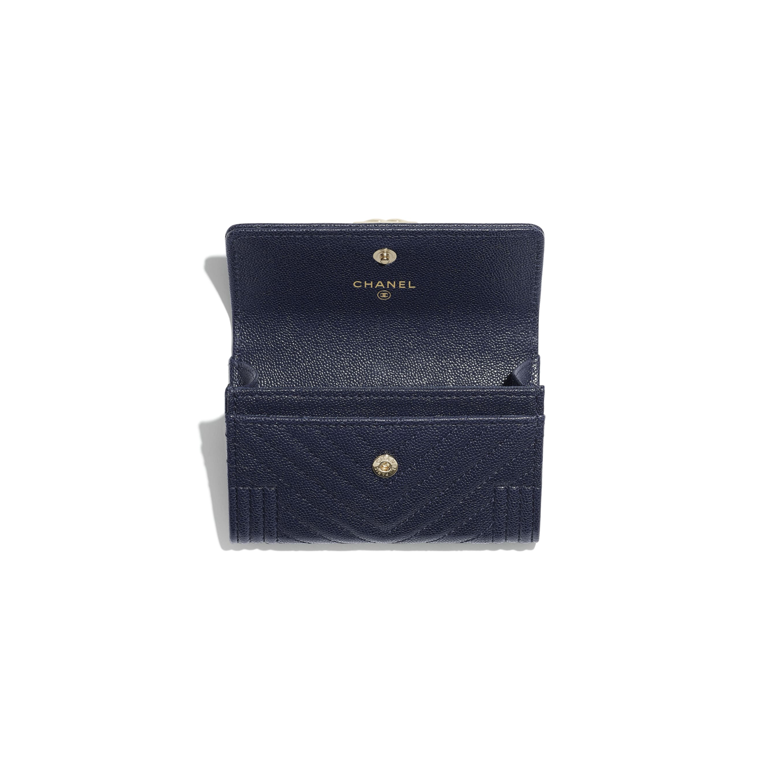 BOY CHANEL Flap Card Holder - Navy Blue - Grained Calfskin & Gold-Tone Metal - Other view - see standard sized version