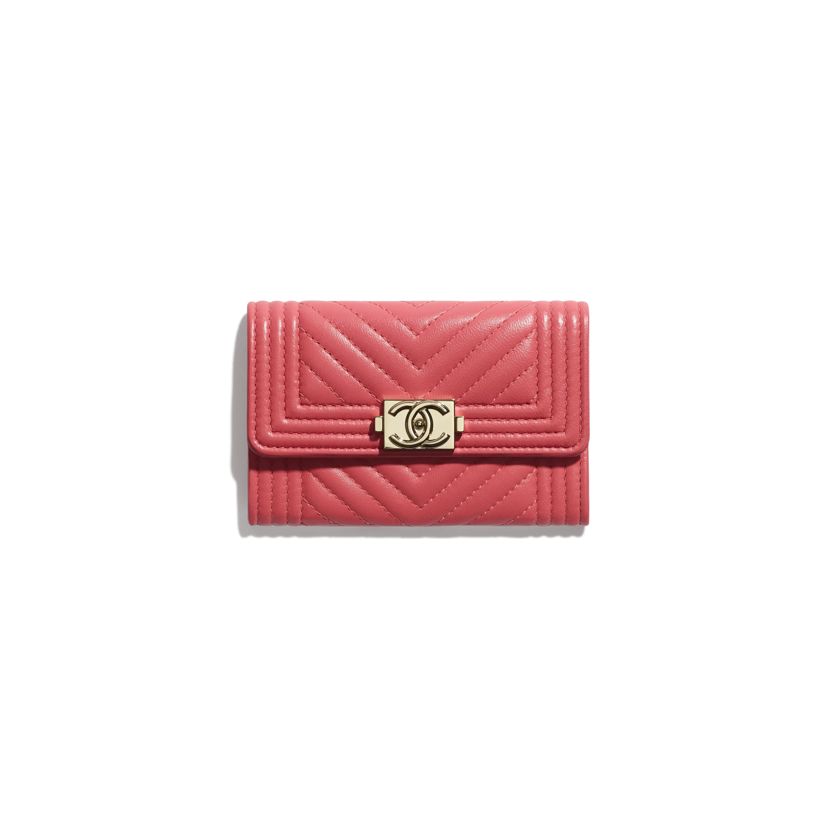 BOY CHANEL Flap Card Holder - Pink - Lambskin - CHANEL - Default view - see standard sized version