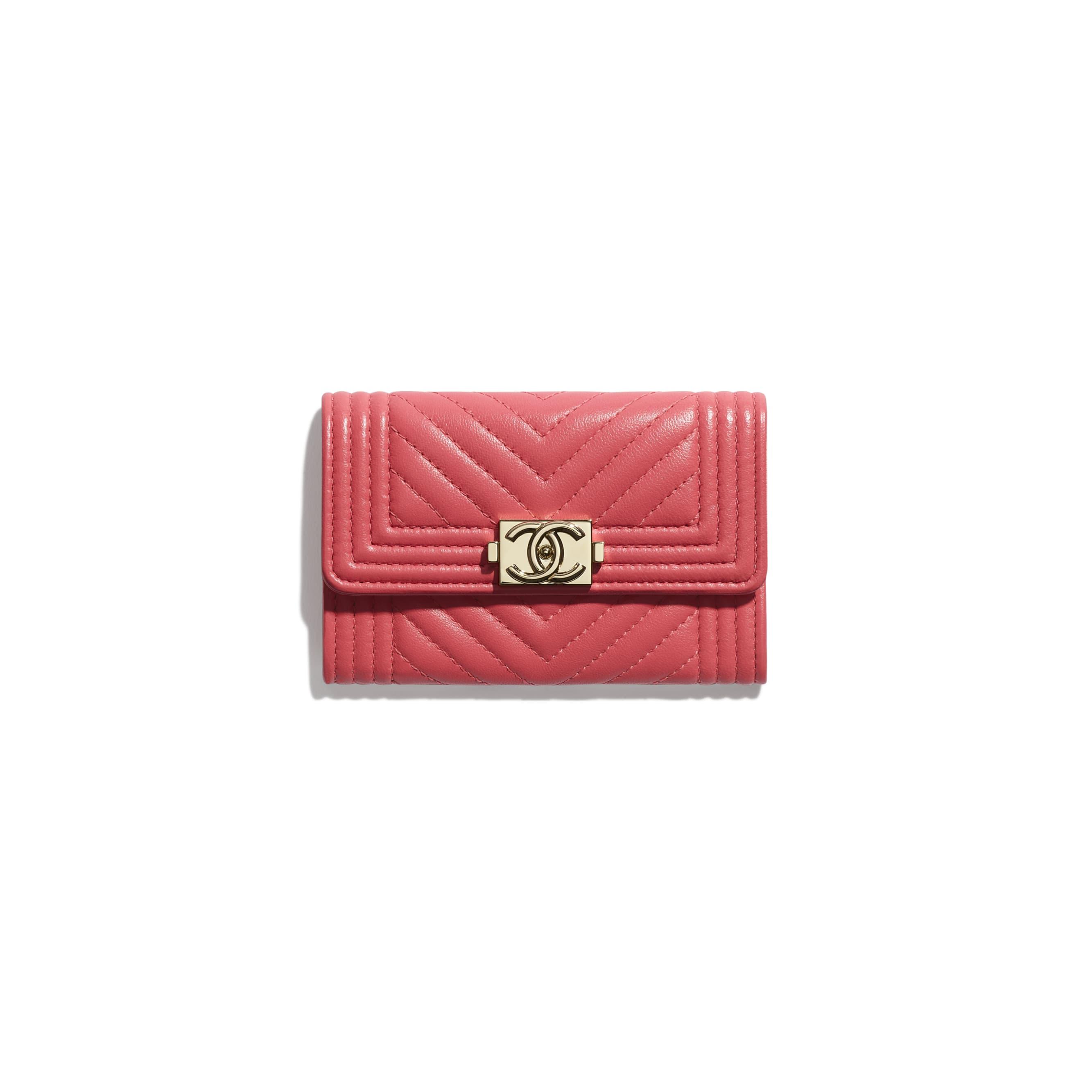 Porte-cartes à rabat BOY CHANEL - Rose - Agneau & métal doré - CHANEL - Vue par défaut - voir la version taille standard