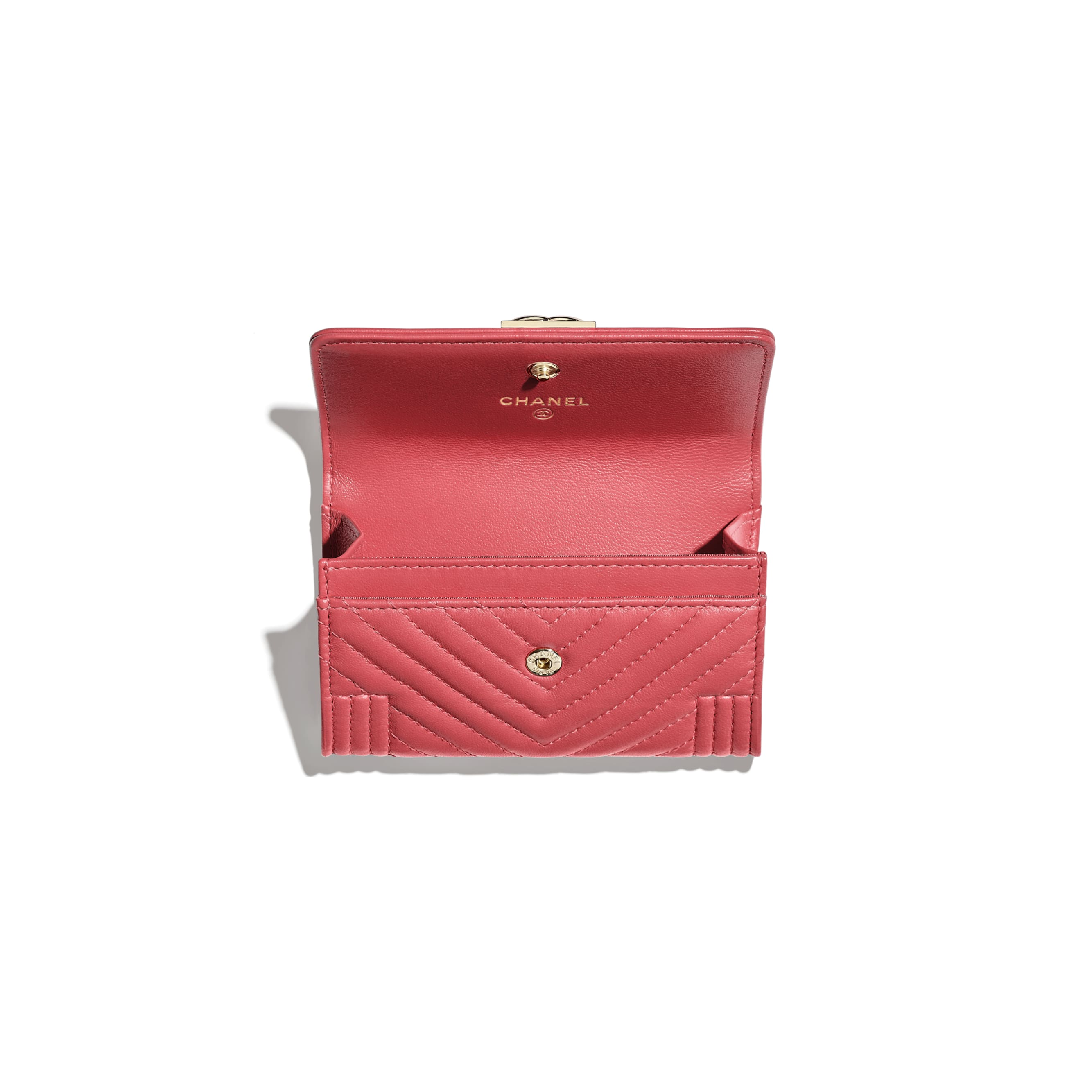 BOY CHANEL Flap Card Holder - Pink - Lambskin - CHANEL - Other view - see standard sized version