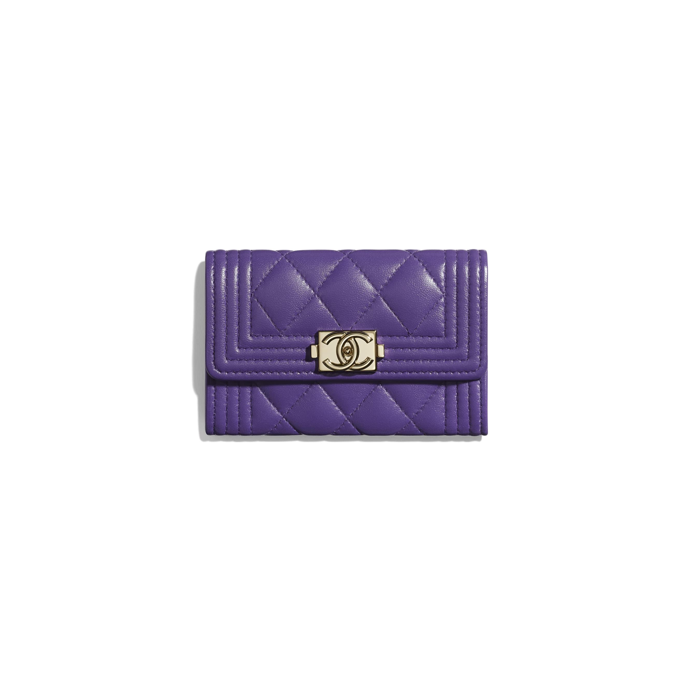 BOY CHANEL Flap Card Holder - Purple - Lambskin - Default view - see standard sized version