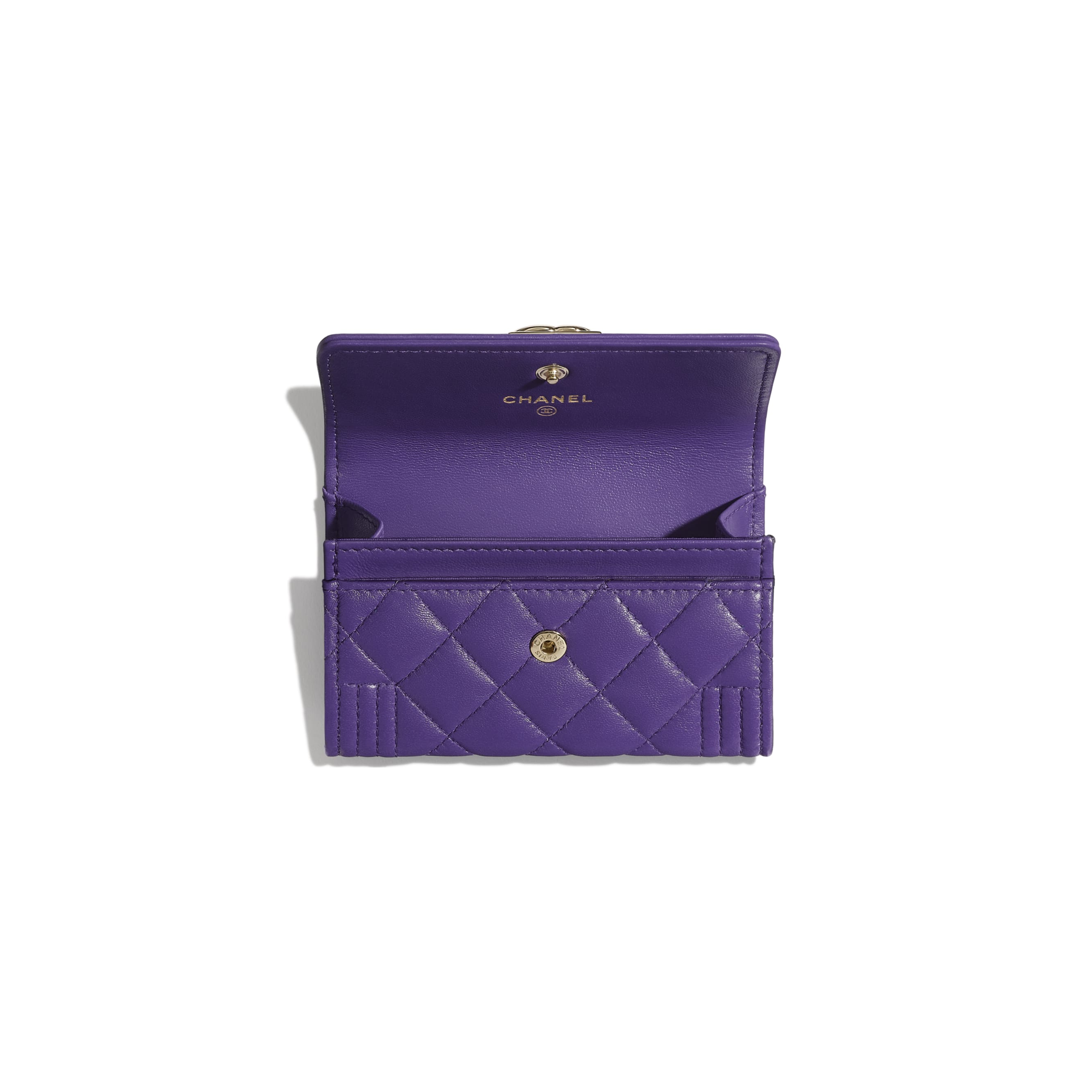 BOY CHANEL Flap Card Holder - Purple - Lambskin - Other view - see standard sized version