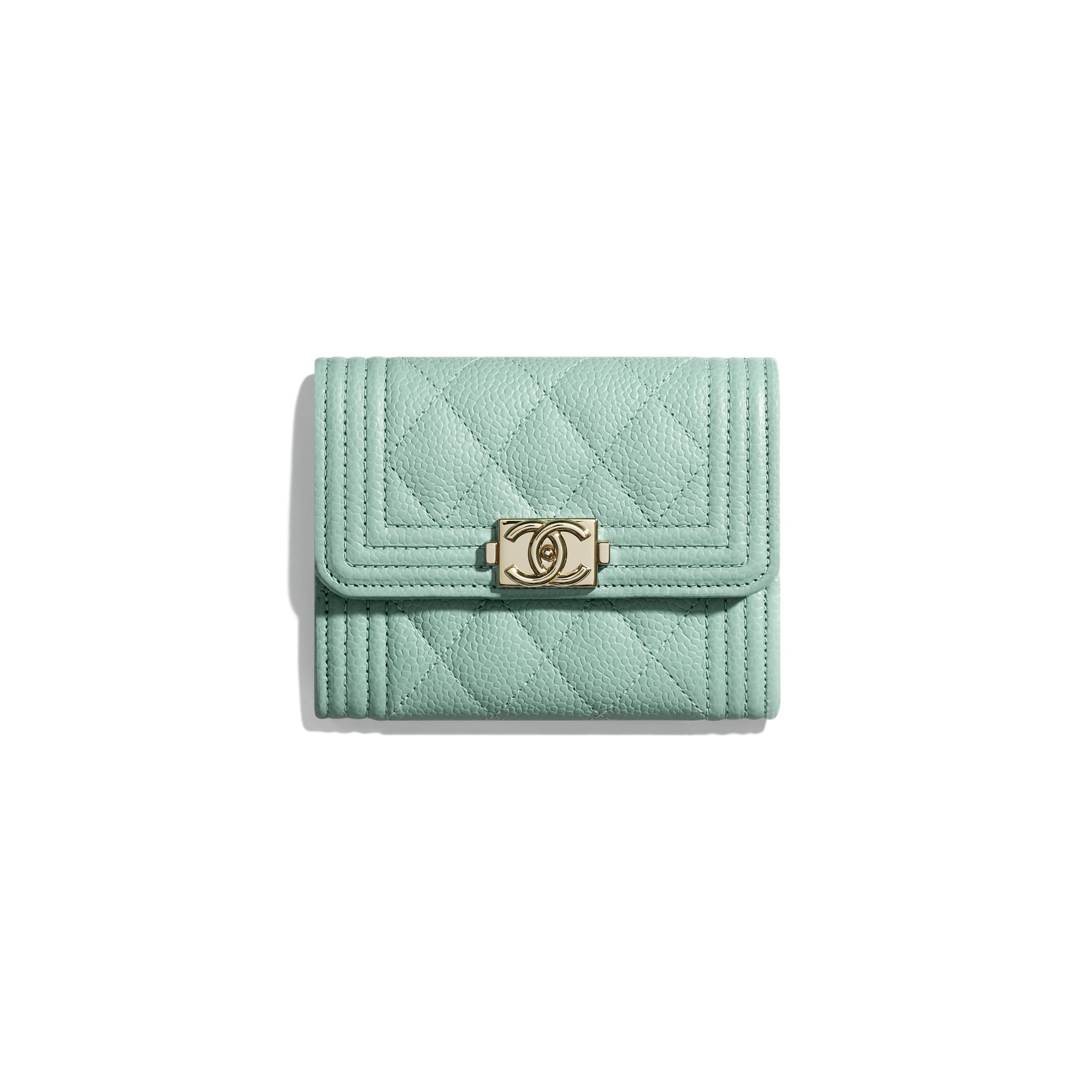BOY CHANEL Flap Coin Purse - Blue - Grained Calfskin & Gold-Tone Metal - Default view - see standard sized version