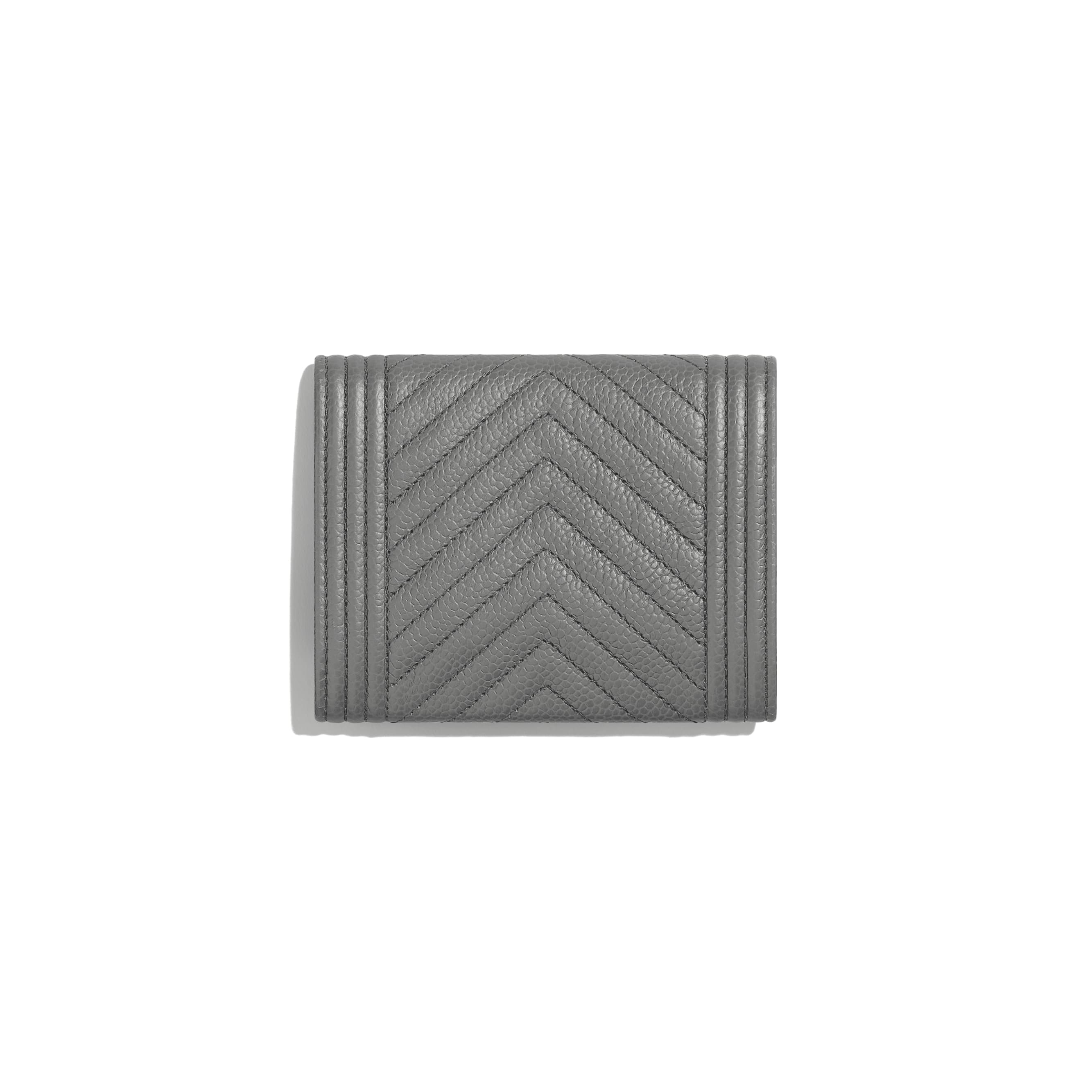 BOY CHANEL Flap Coin Purse - Grey - Grained Calfskin & Ruthenium-Finish Metal - CHANEL - Alternative view - see standard sized version