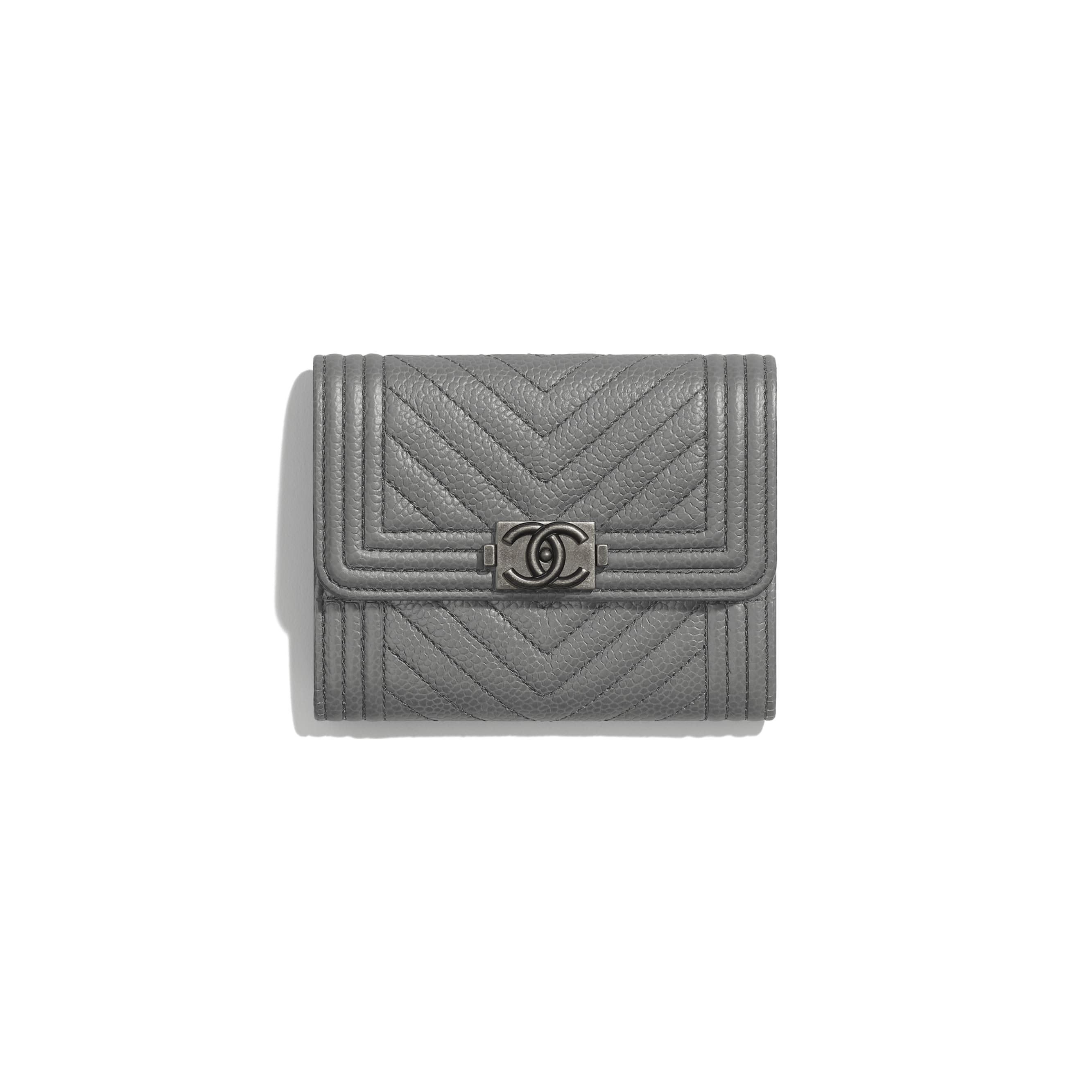 BOY CHANEL Flap Coin Purse - Grey - Grained Calfskin & Ruthenium-Finish Metal - CHANEL - Default view - see standard sized version