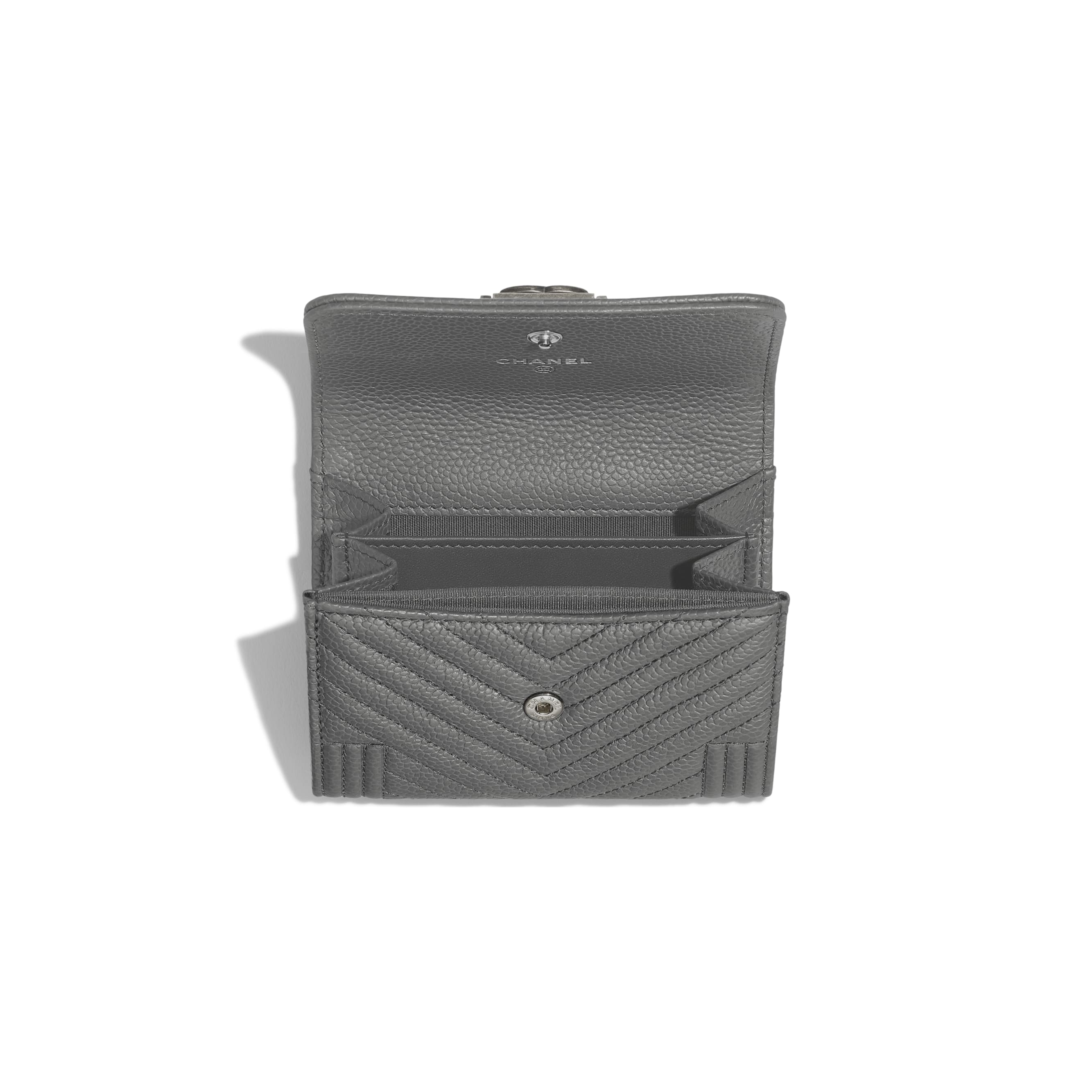 BOY CHANEL Flap Coin Purse - Grey - Grained Calfskin & Ruthenium-Finish Metal - Other view - see standard sized version