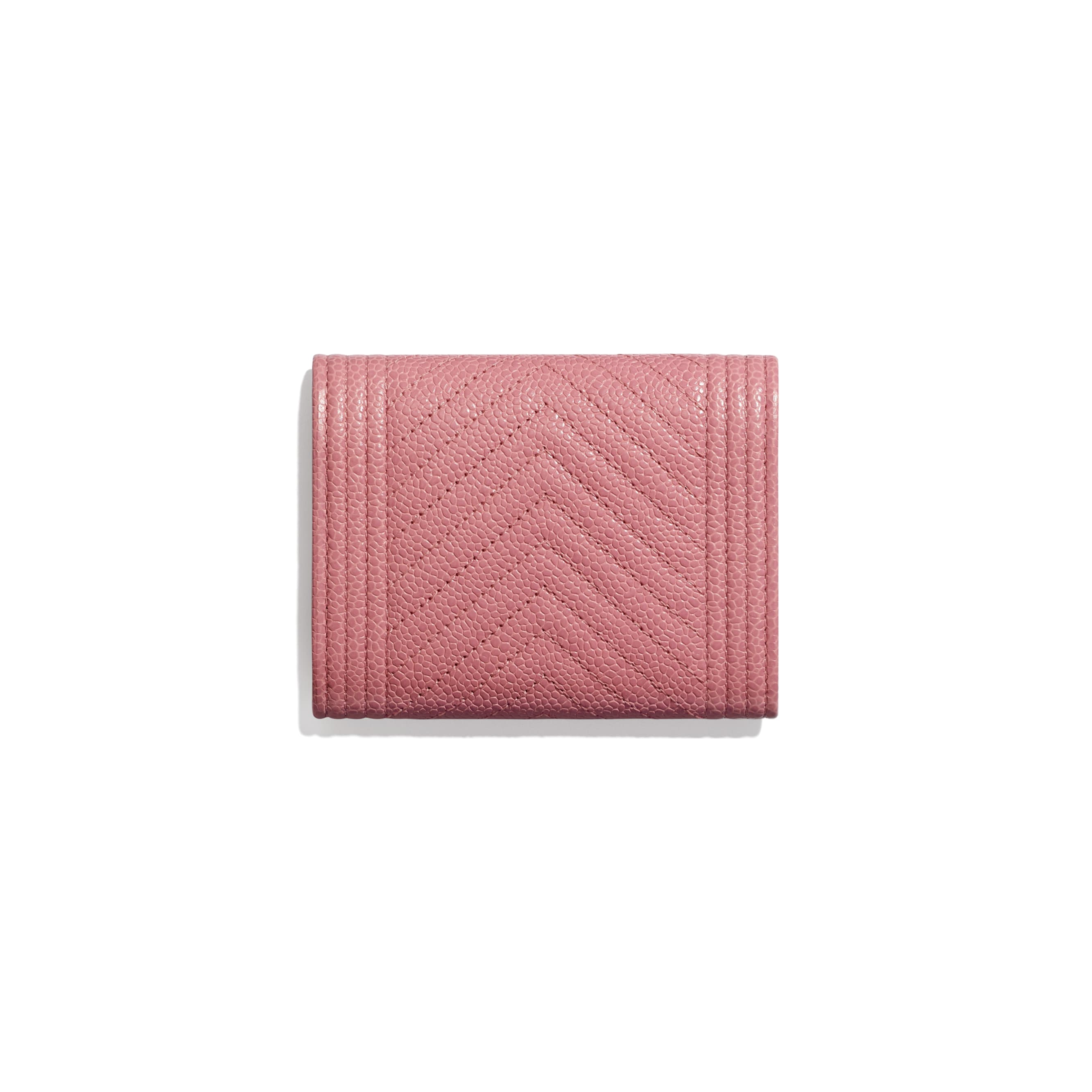 BOY CHANEL Flap Coin Purse - Pink - Shiny Grained Calfskin & Silver-Tone Metal - Alternative view - see standard sized version
