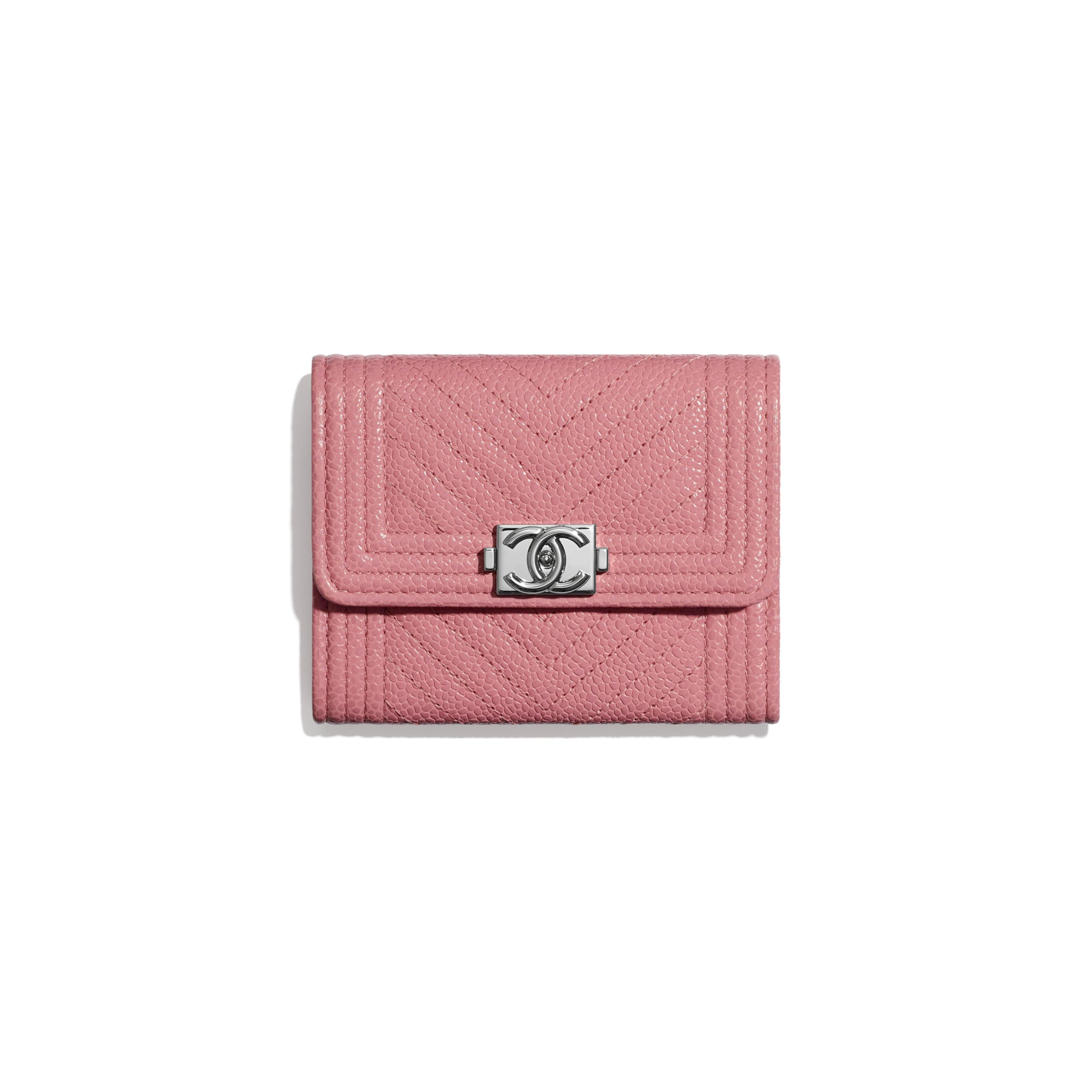 BOY CHANEL Flap Coin Purse - Pink - Shiny Grained Calfskin & Silver-Tone Metal - Default view - see standard sized version