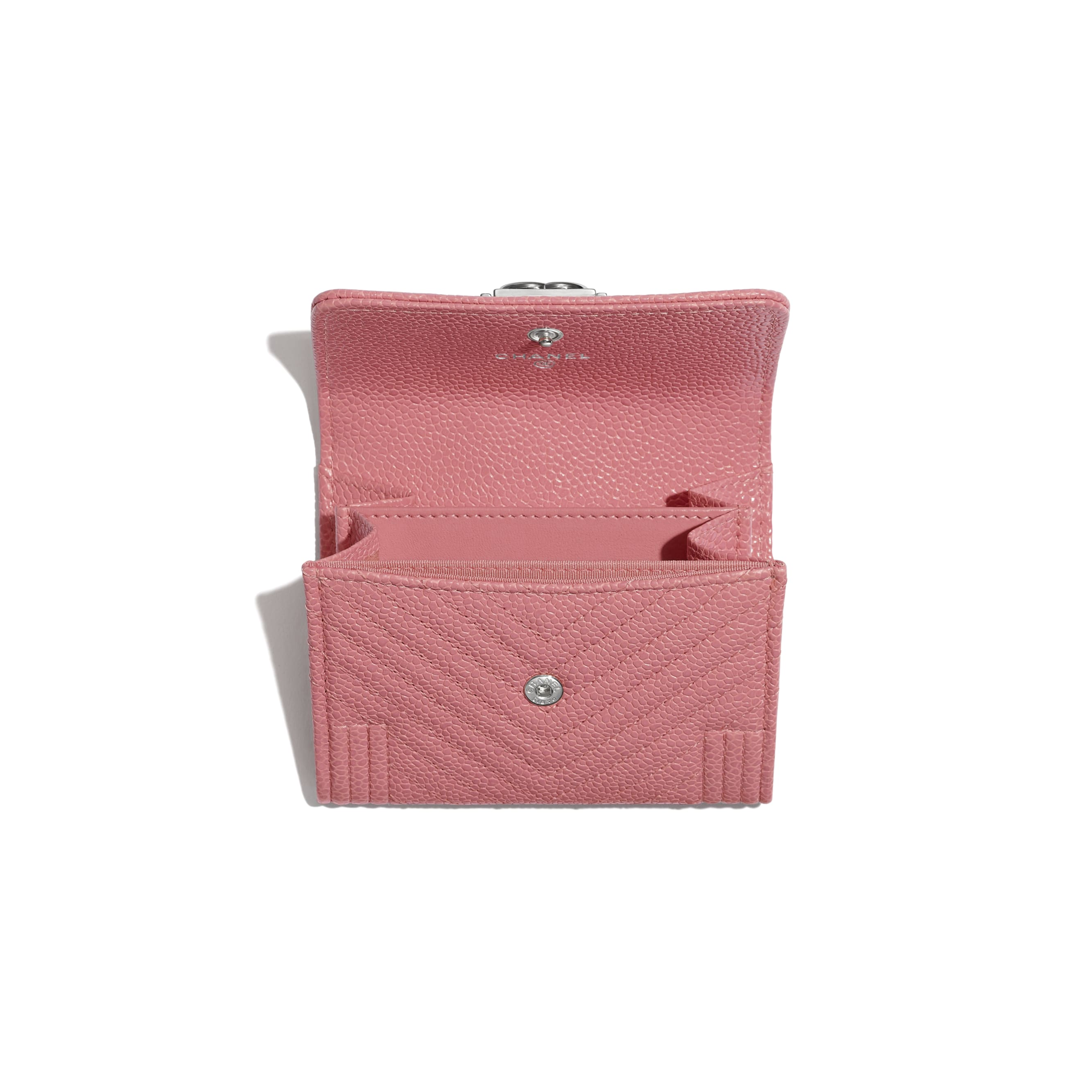 BOY CHANEL Flap Coin Purse - Pink - Shiny Grained Calfskin & Silver-Tone Metal - Other view - see standard sized version