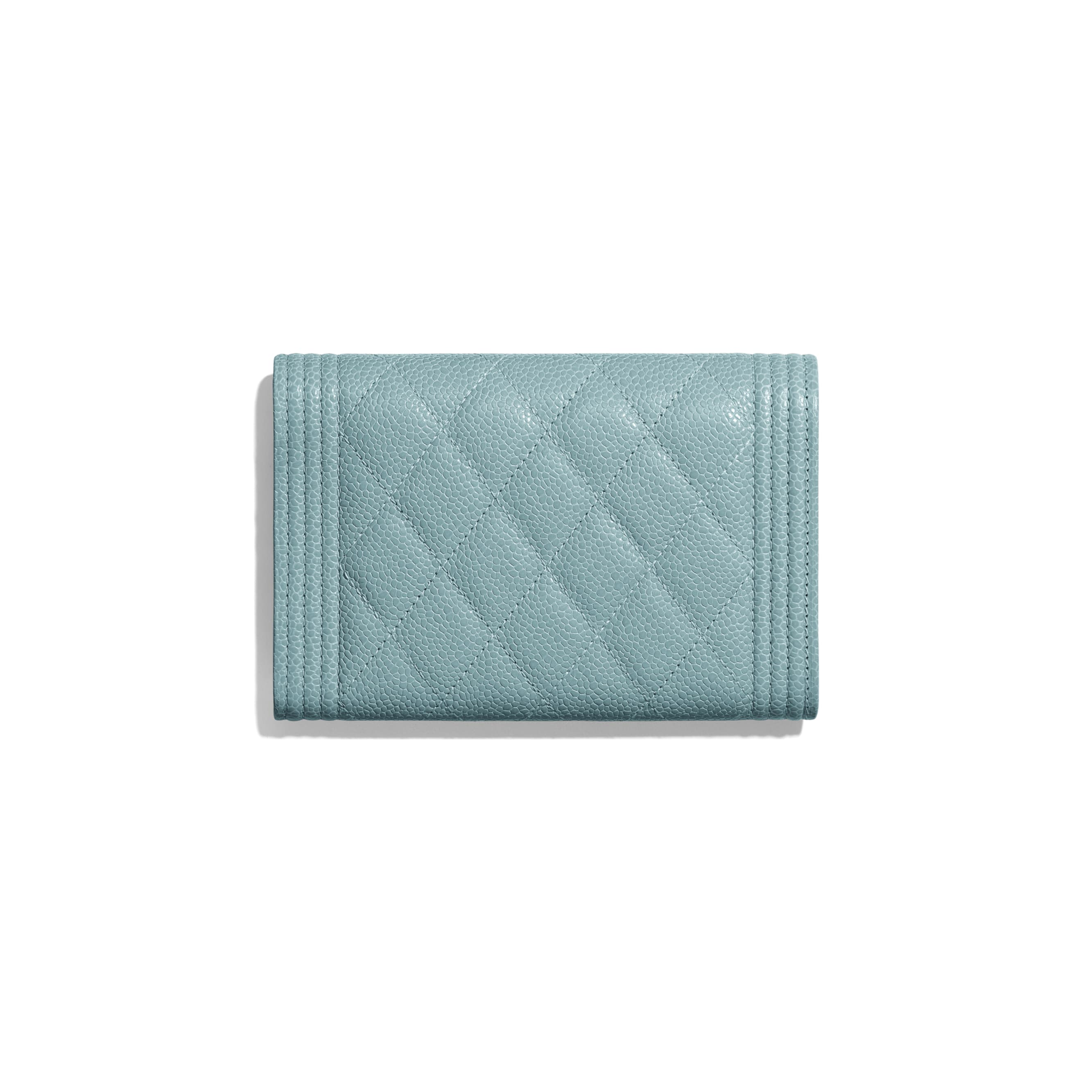BOY CHANEL Flap Wallet - Blue - Grained Shiny Calfskin & Gold-Tone Metal - Alternative view - see standard sized version