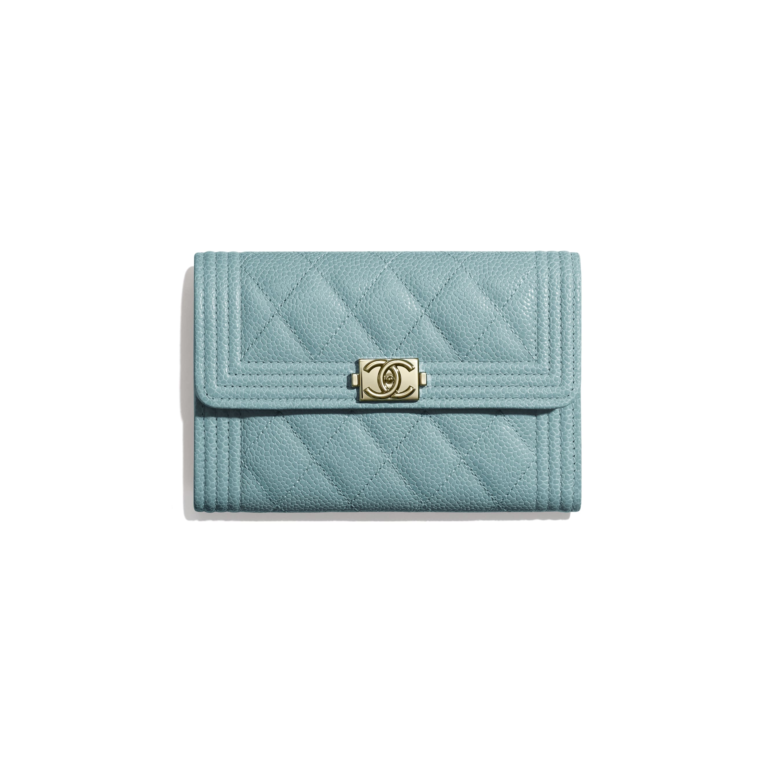 BOY CHANEL Flap Wallet - Blue - Grained Shiny Calfskin & Gold-Tone Metal - Default view - see standard sized version
