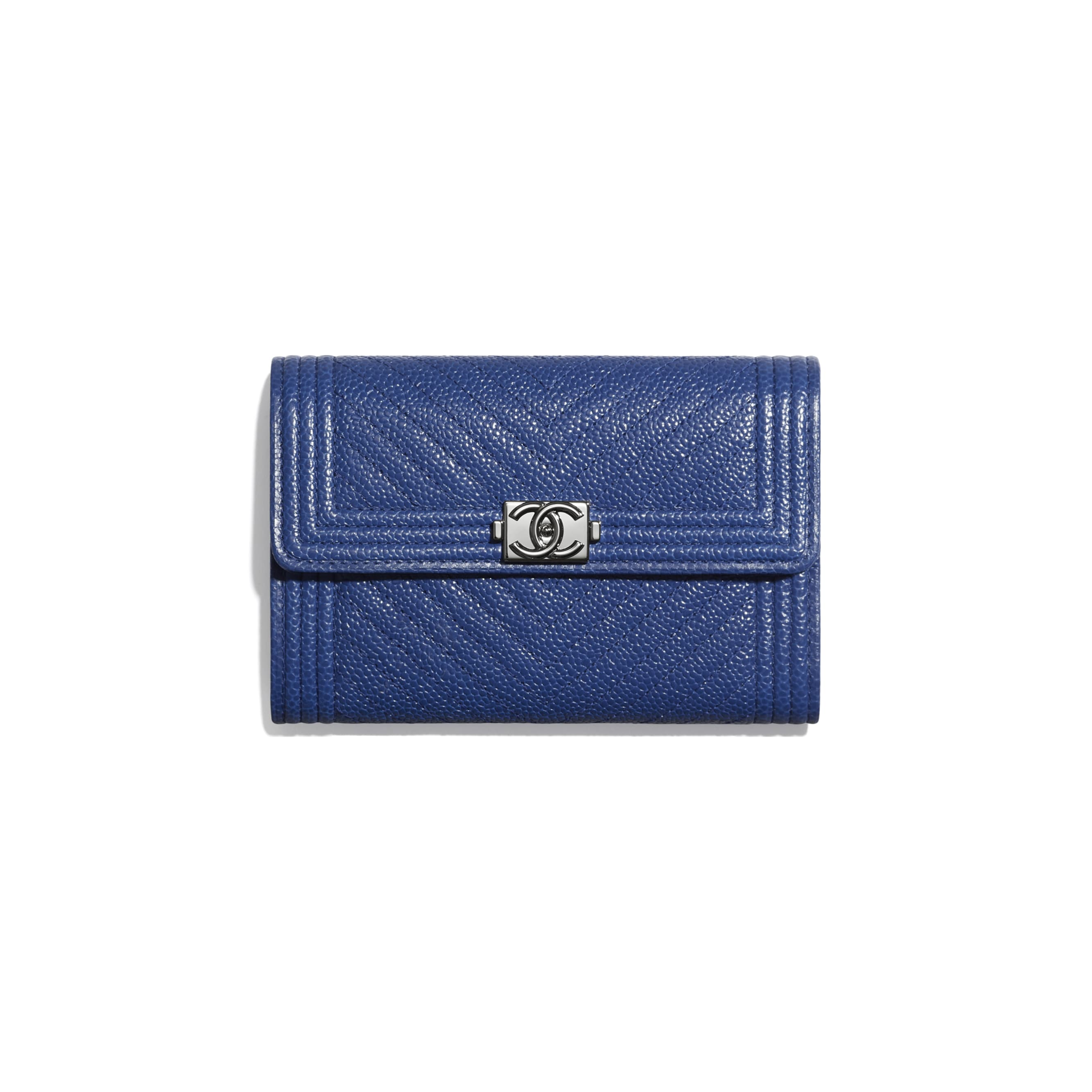 BOY CHANEL Flap Wallet - Dark Blue - Shiny Grained Calfskin & Silver-Tone Metal - CHANEL - Default view - see standard sized version