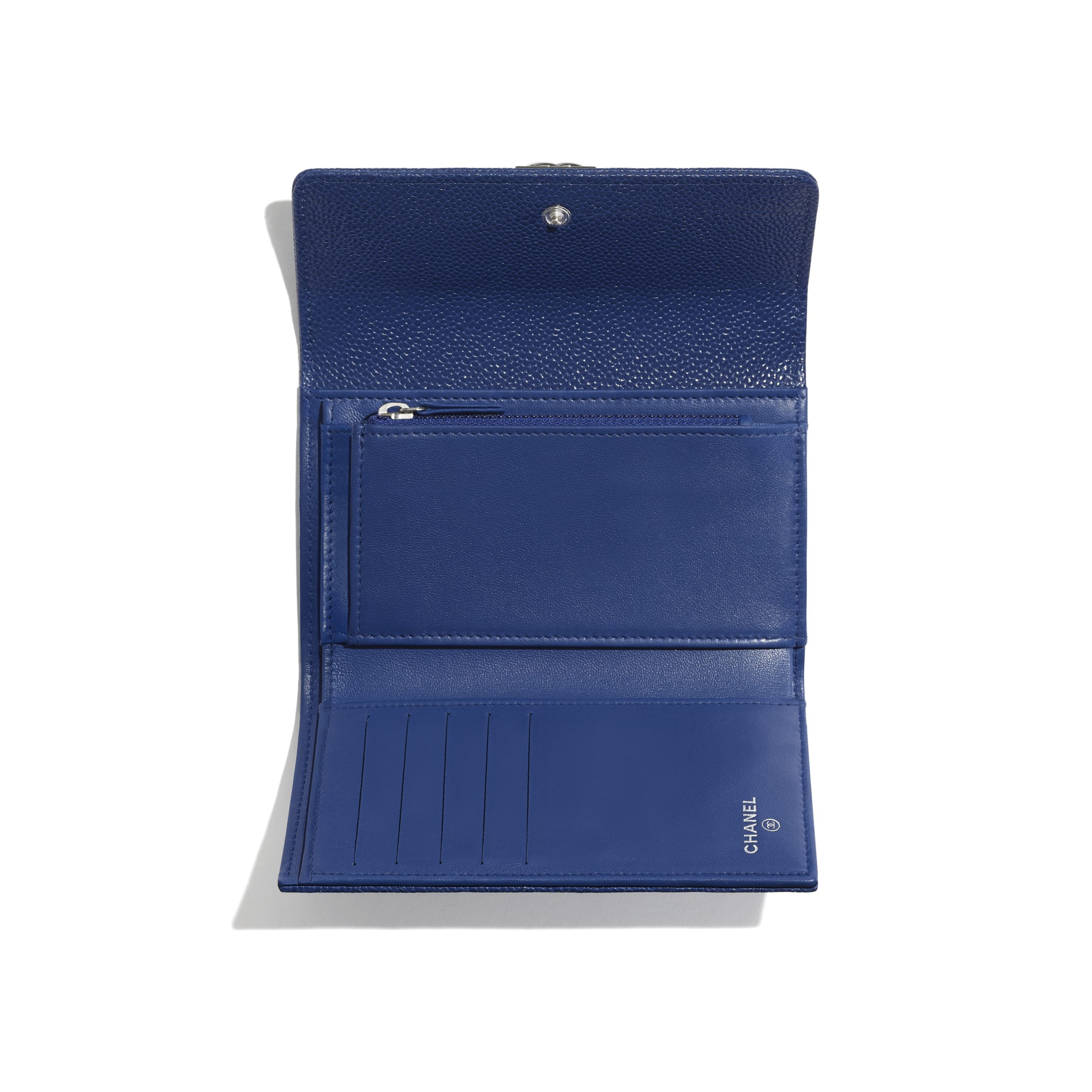 BOY CHANEL Flap Wallet - Dark Blue - Shiny Grained Calfskin & Silver-Tone Metal - CHANEL - Other view - see standard sized version