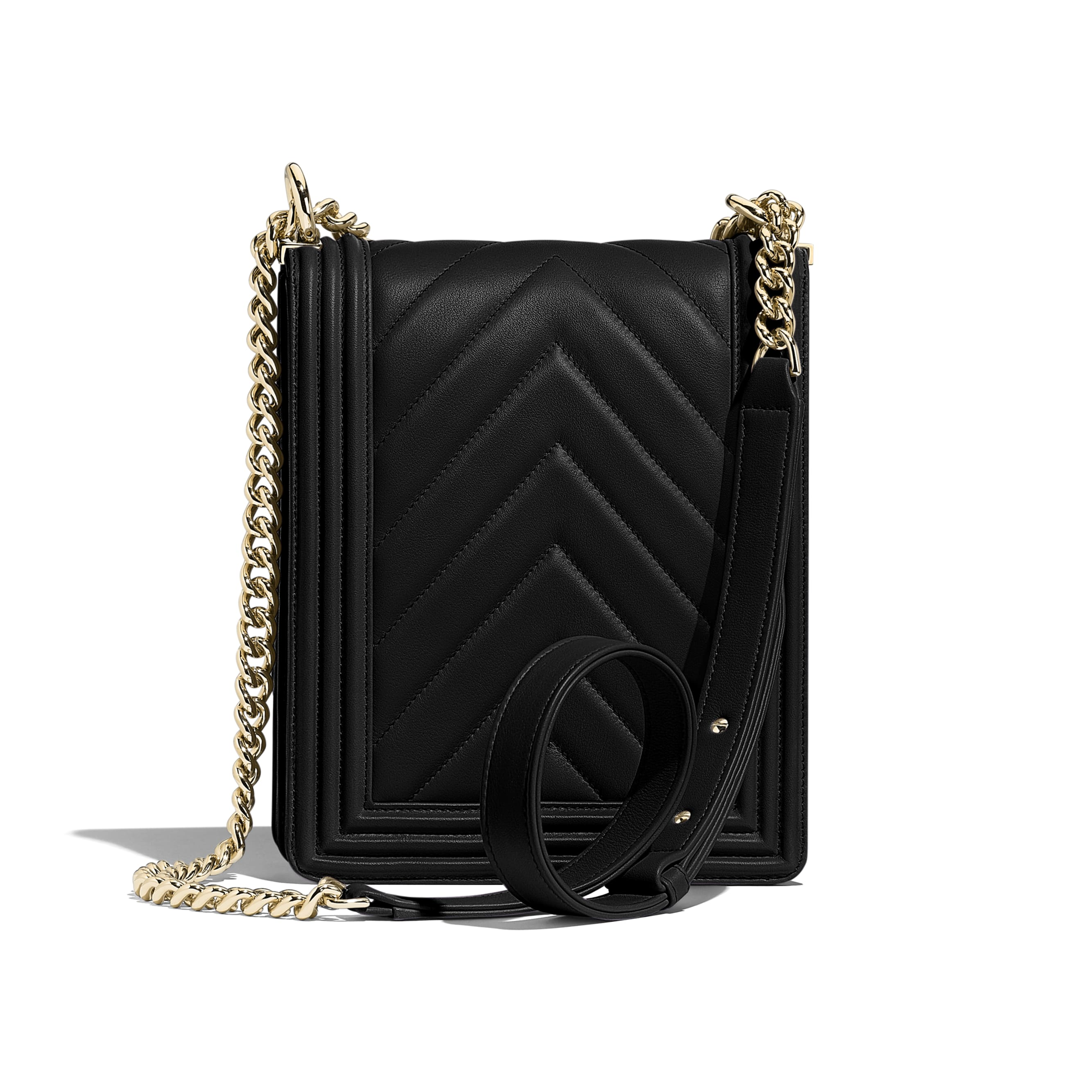 BOY CHANEL Handbag - Black - Calfskin & Gold-Tone Metal - Alternative view - see standard sized version