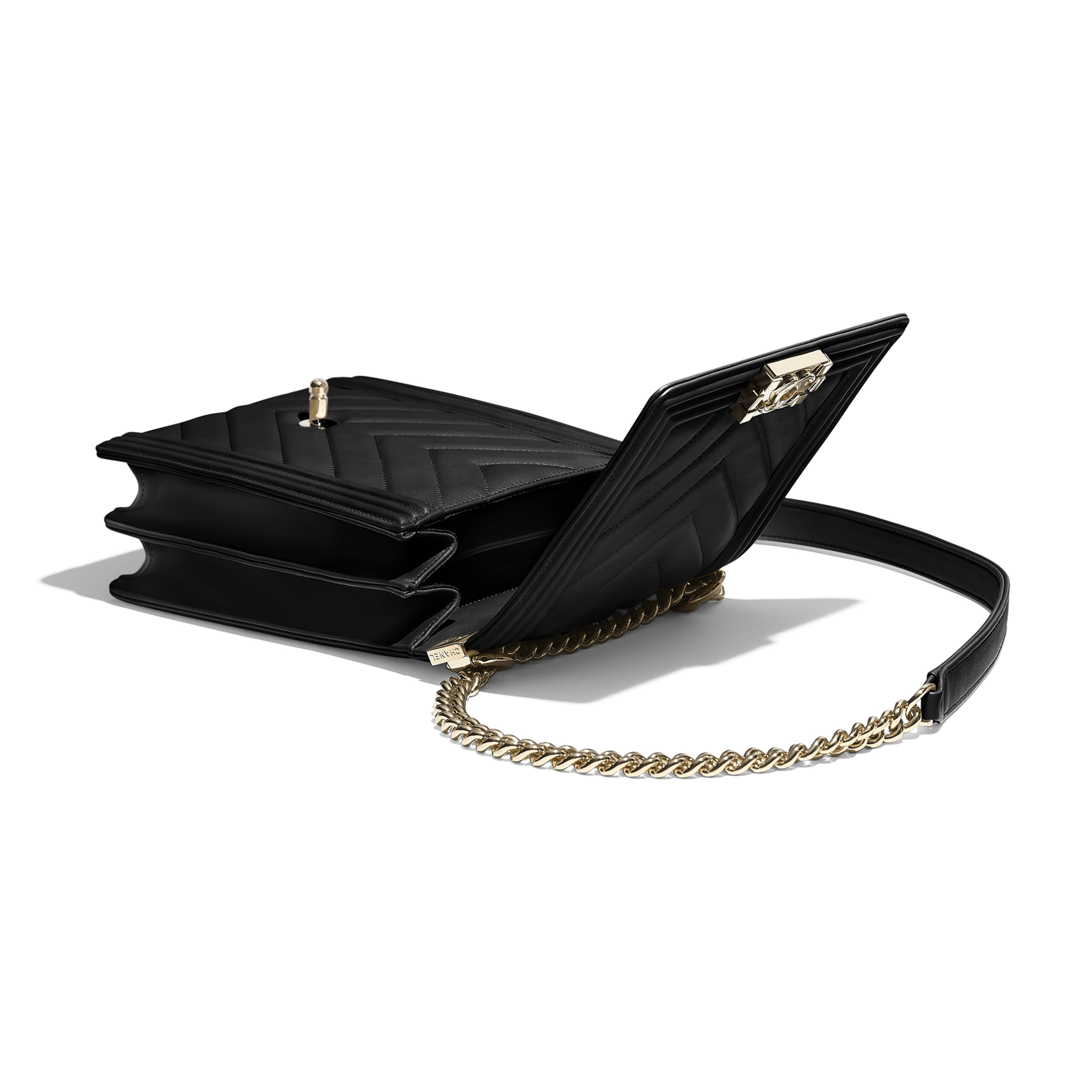 BOY CHANEL Handbag - Black - Calfskin & Gold-Tone Metal - Extra view - see standard sized version