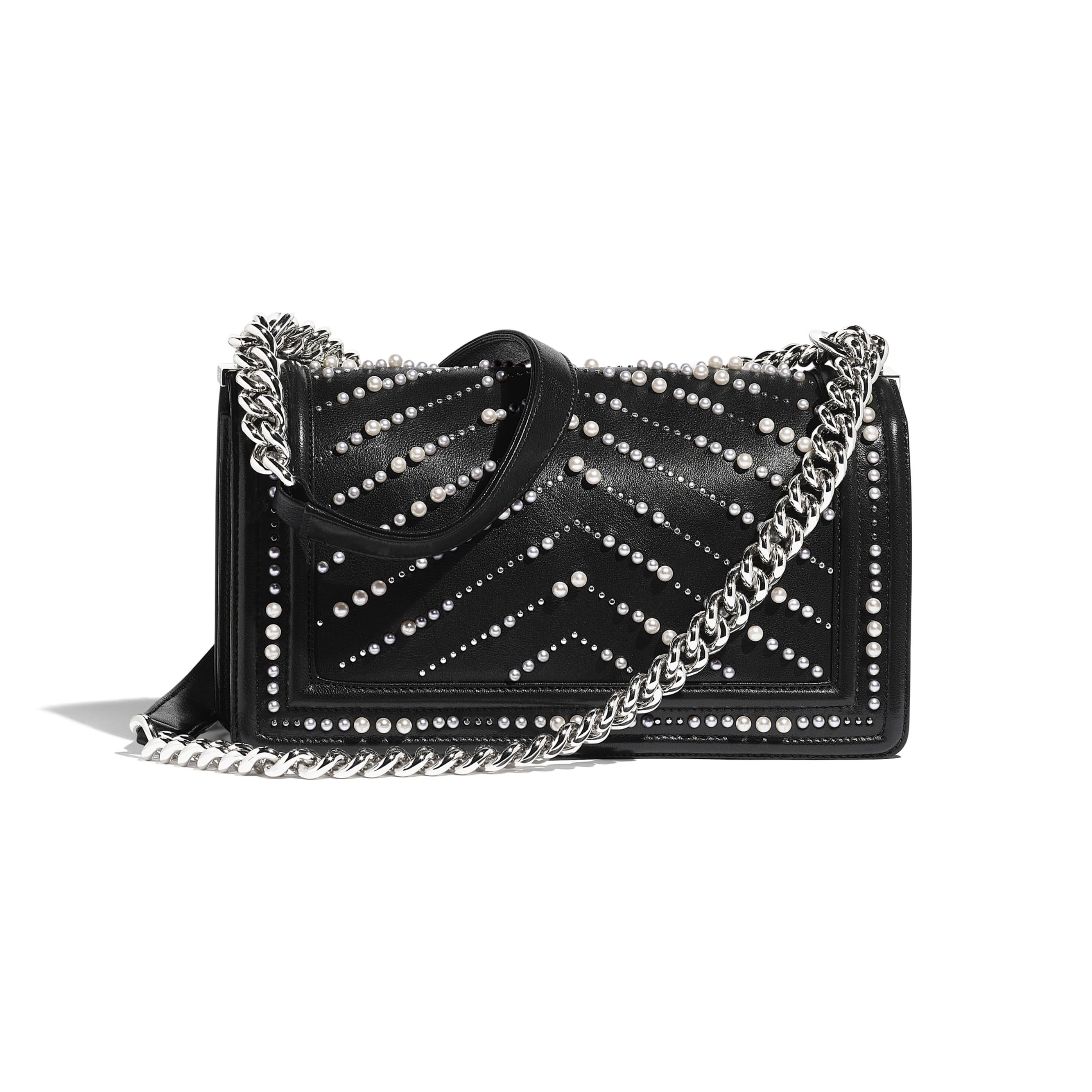 BOY CHANEL Handbag - Black - Calfskin, Imitation Pearls & Silver-Tone Metal - CHANEL - Alternative view - see standard sized version