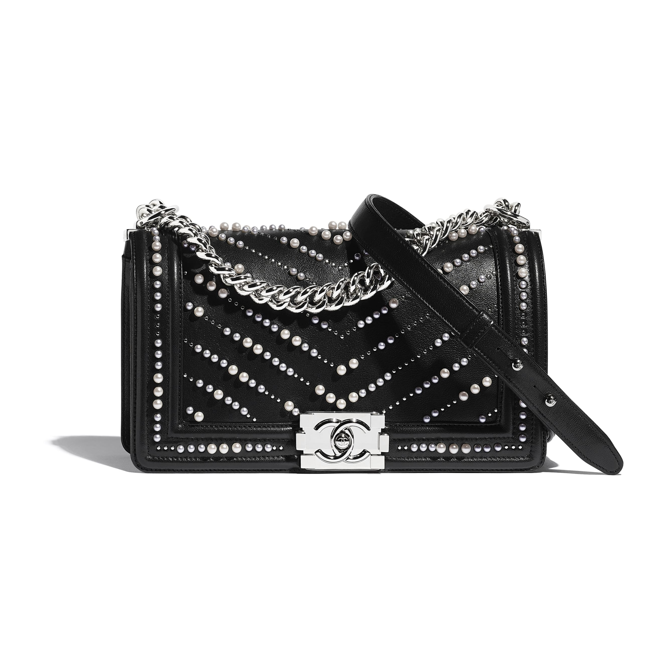 BOY CHANEL Handbag - Black - Calfskin, Imitation Pearls & Silver-Tone Metal - CHANEL - Default view - see standard sized version