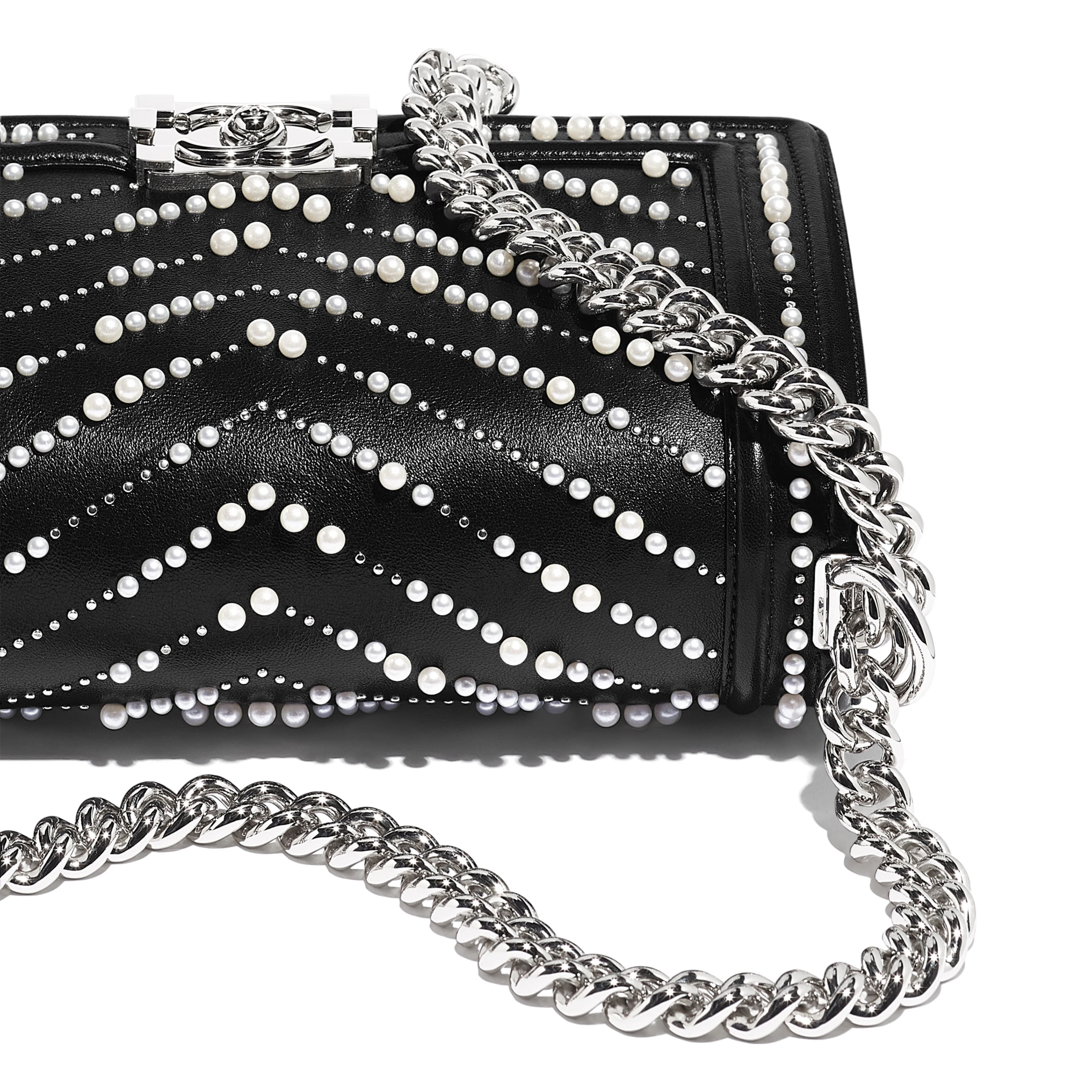BOY CHANEL Handbag - Black - Calfskin, Imitation Pearls & Silver-Tone Metal - CHANEL - Extra view - see standard sized version