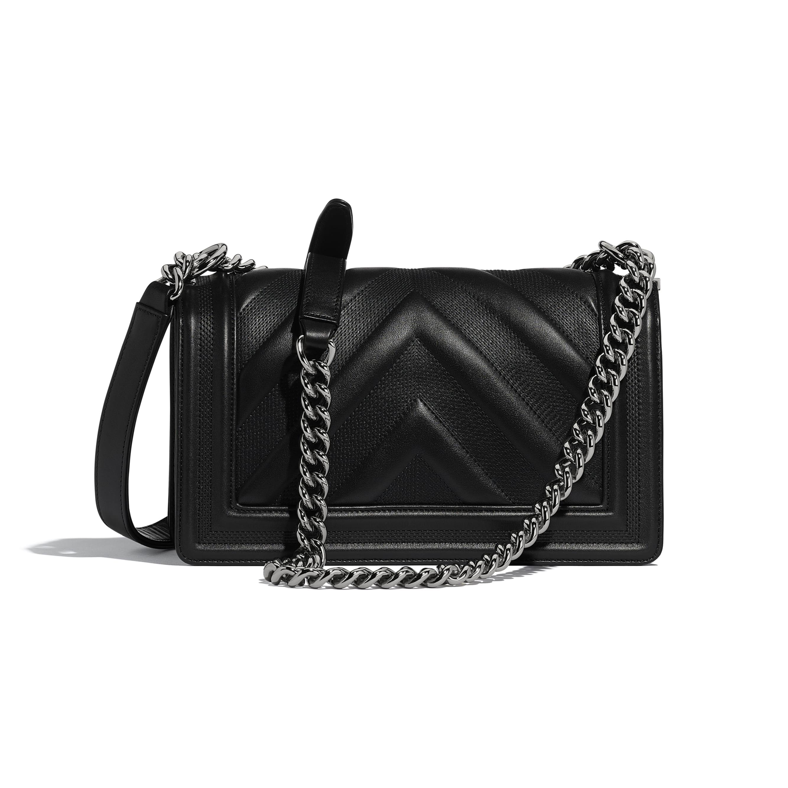 BOY CHANEL Handbag - Black - Calfskin & Ruthenium-Finish Metal - Alternative view - see standard sized version