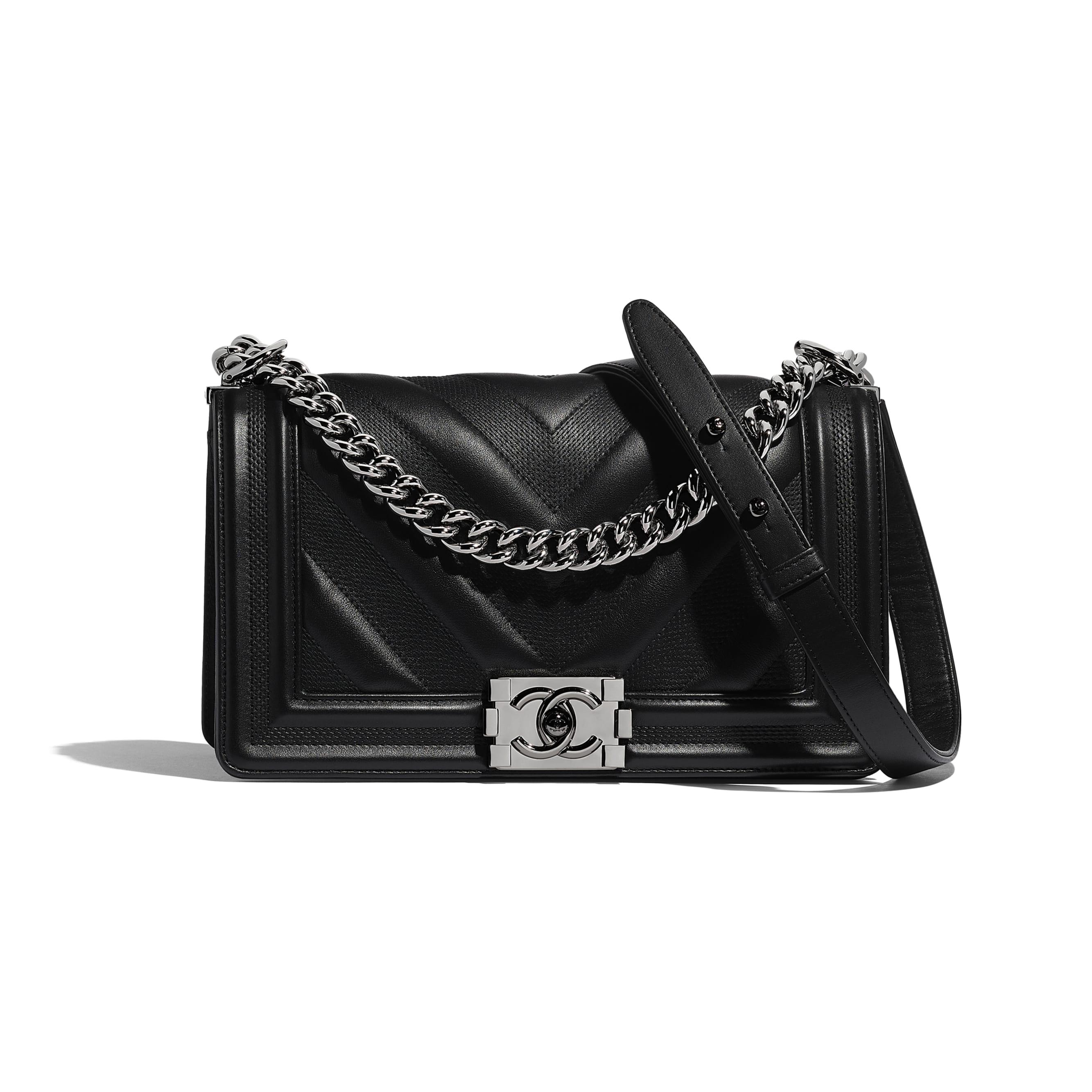 BOY CHANEL Handbag - Black - Calfskin & Ruthenium-Finish Metal - Default view - see standard sized version