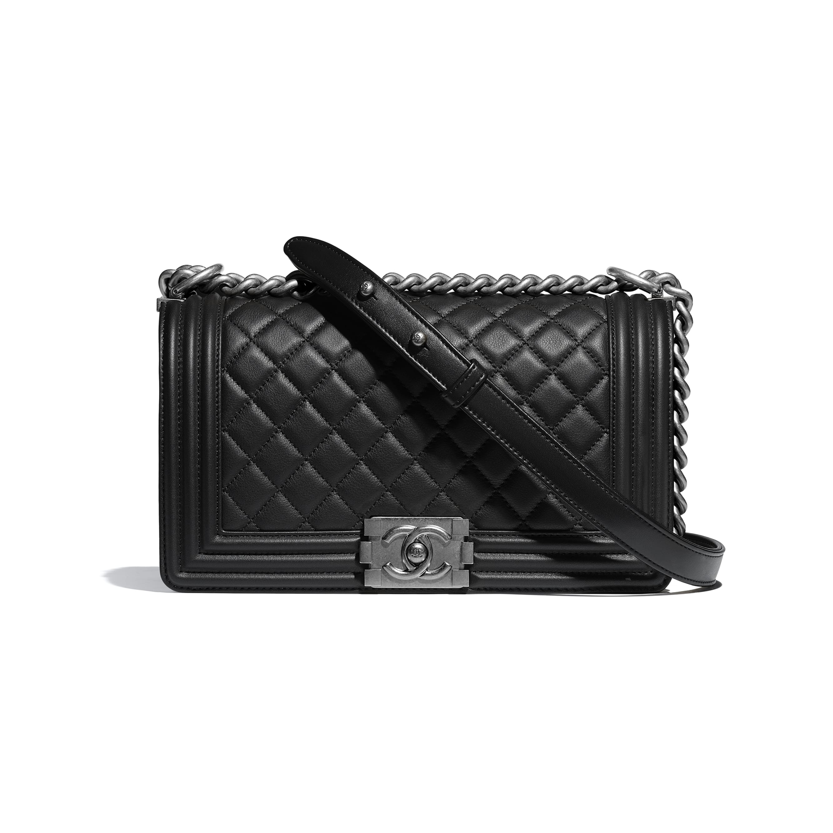 BOY CHANEL Handbag - Black - Calfskin & Ruthenium-Finish Metal - CHANEL - Default view - see standard sized version