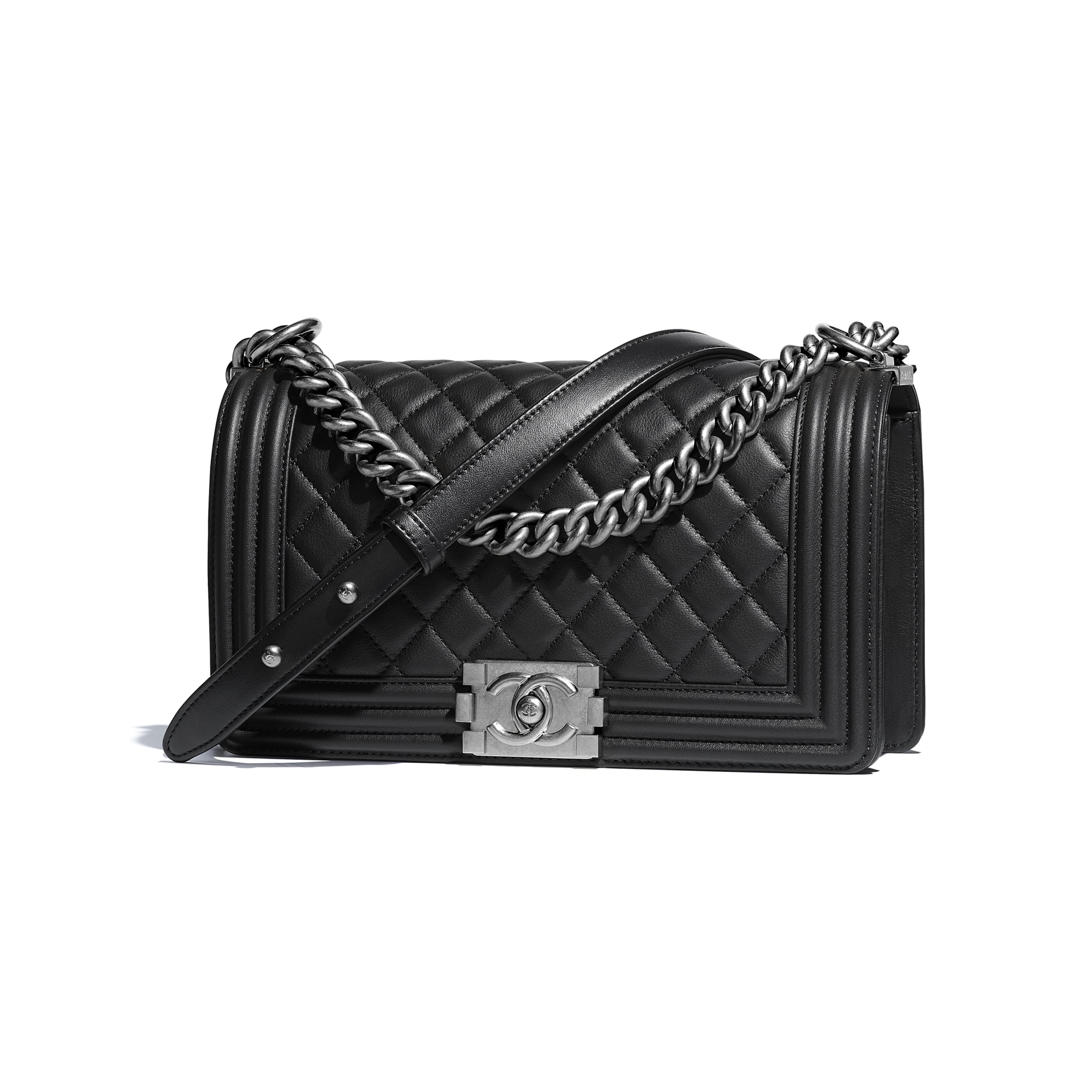BOY CHANEL Handbag - Black - Calfskin & Ruthenium-Finish Metal - Other view - see standard sized version