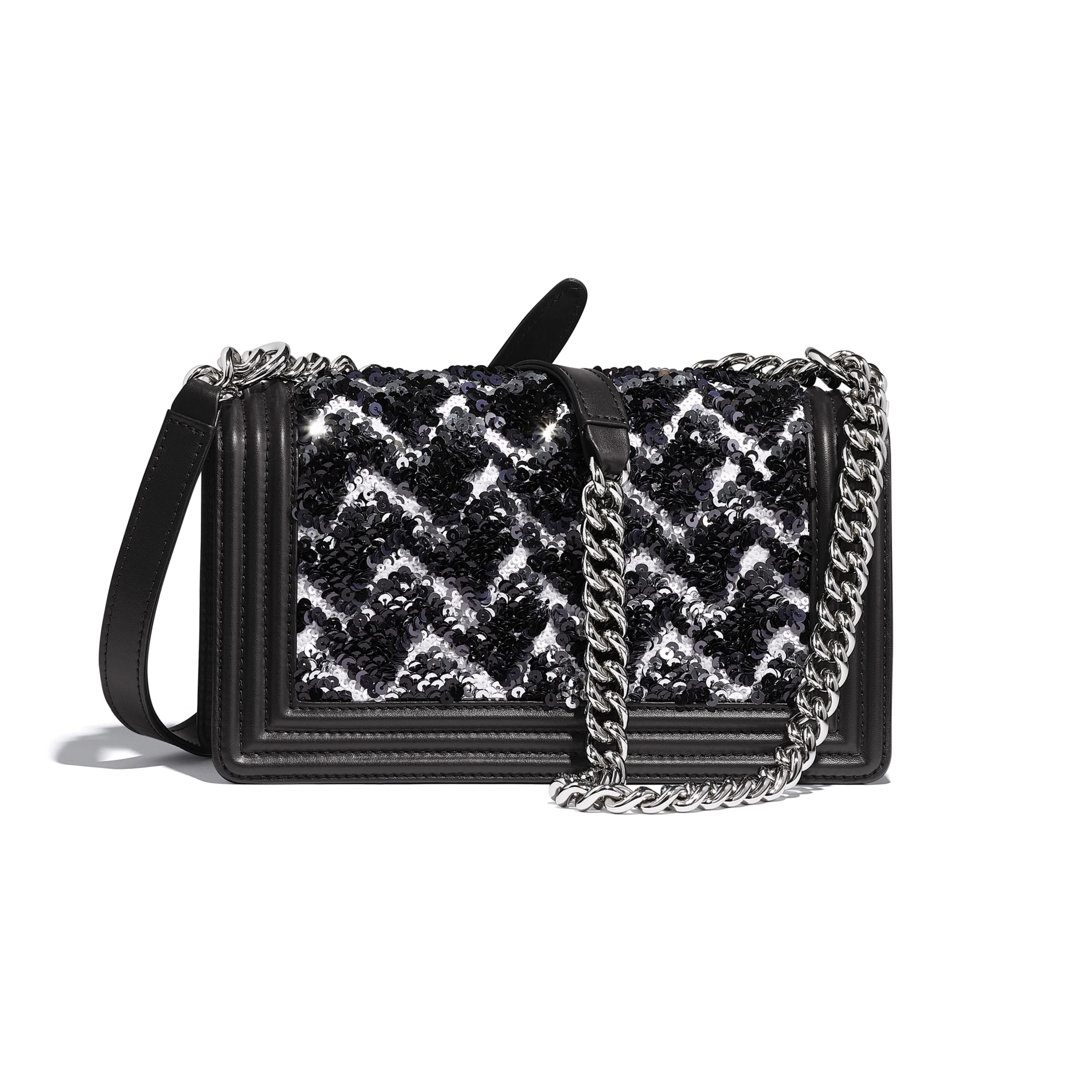 BOY CHANEL Handbag - Black, Silver & White - Sequins, Calfskin & Silver-Tone Metal - Alternative view - see standard sized version