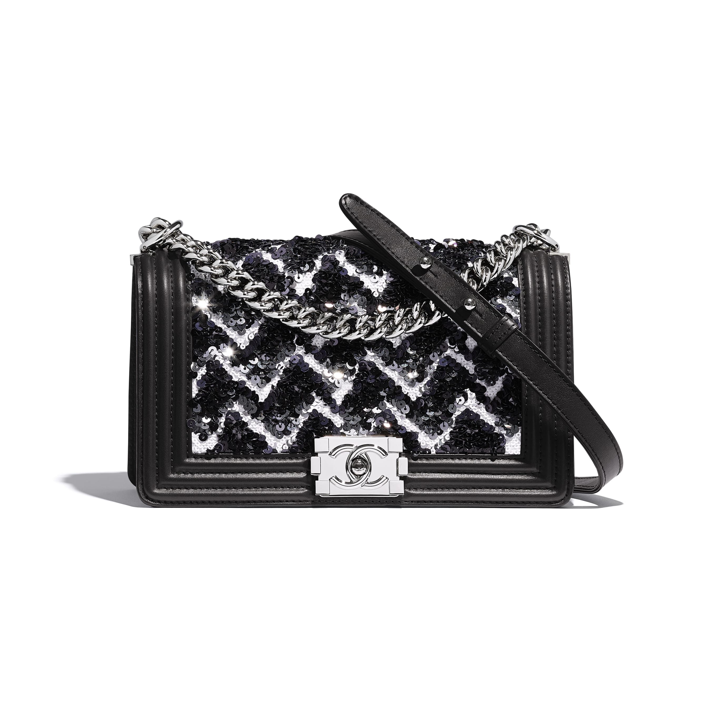 BOY CHANEL Handbag - Black, Silver & White - Sequins, Calfskin & Silver-Tone Metal - Default view - see standard sized version