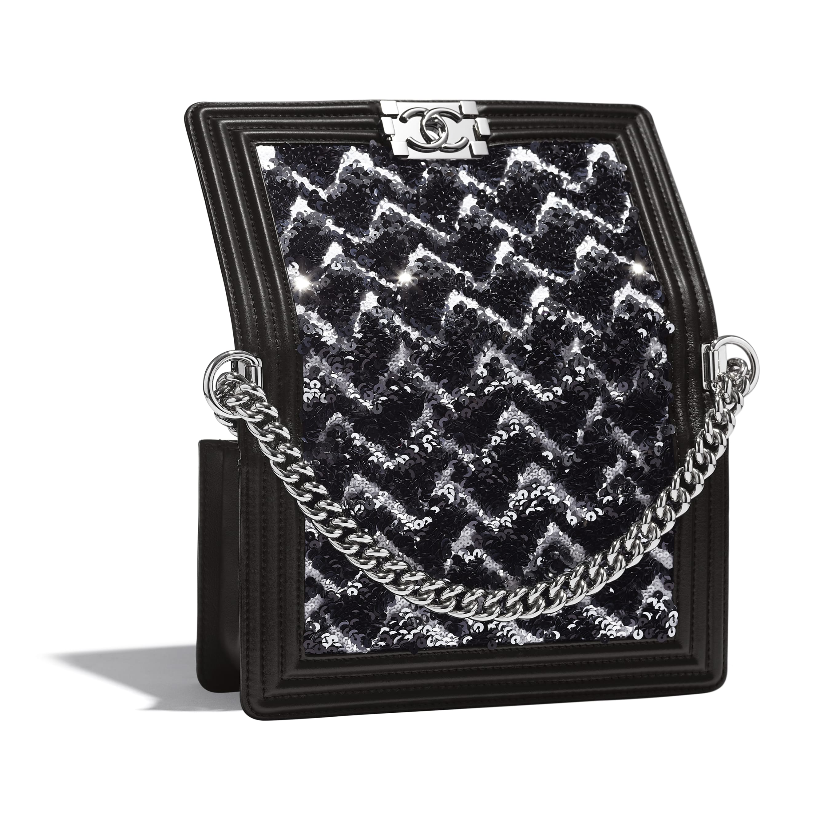 BOY CHANEL Handbag - Black, Silver & White - Sequins, Calfskin & Silver-Tone Metal - Extra view - see standard sized version
