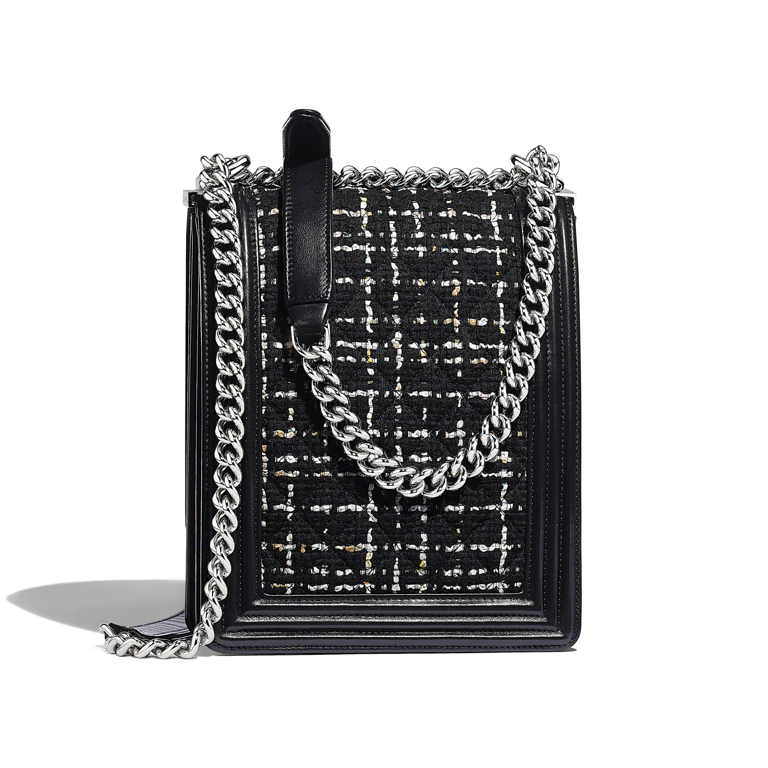 BOY CHANEL Handbag - Black, White, Pink & Yellow - Tweed, Calfskin & Silver-Tone Metal - Alternative view - see standard sized version