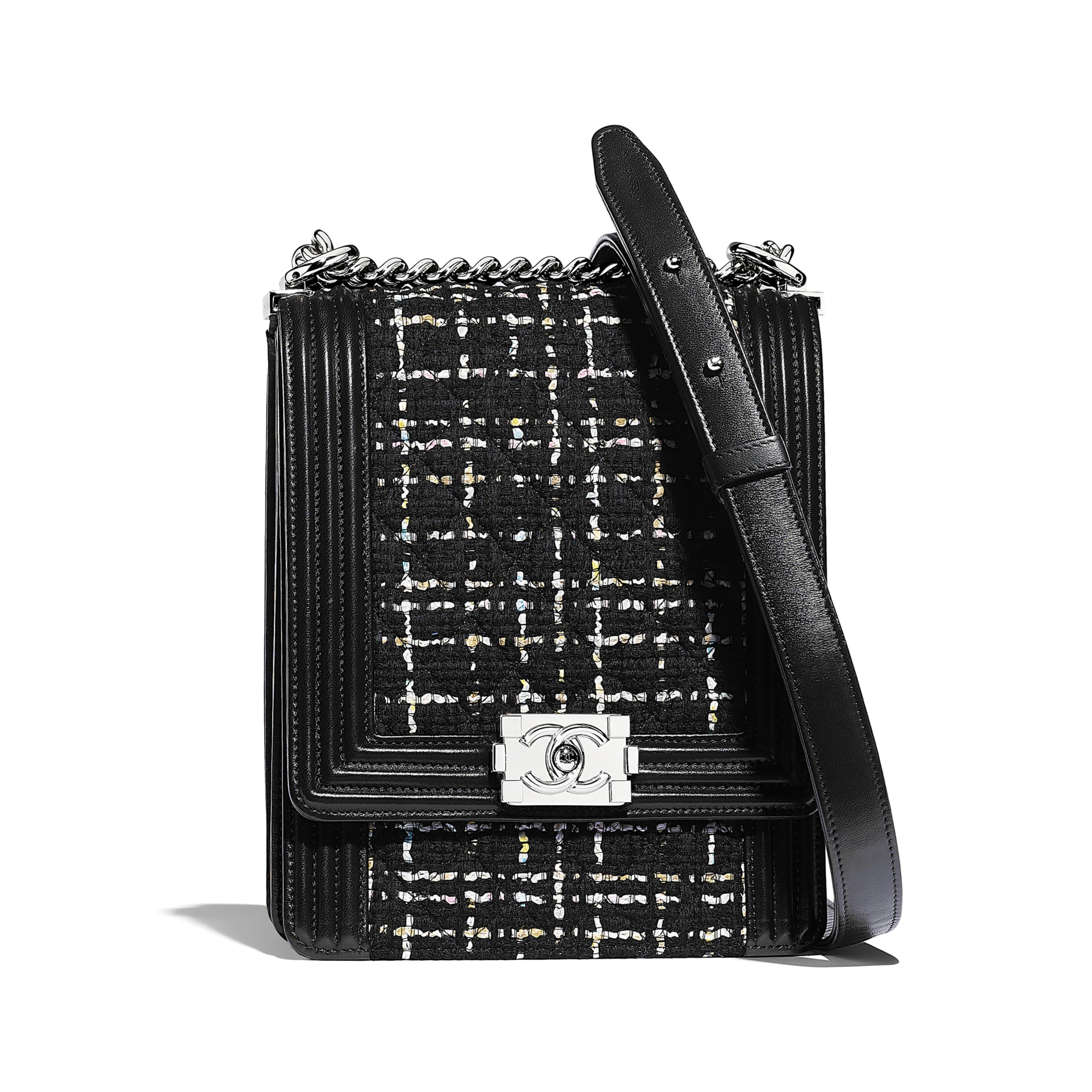 BOY CHANEL Handbag - Black, White, Pink & Yellow - Tweed, Calfskin & Silver-Tone Metal - Default view - see standard sized version