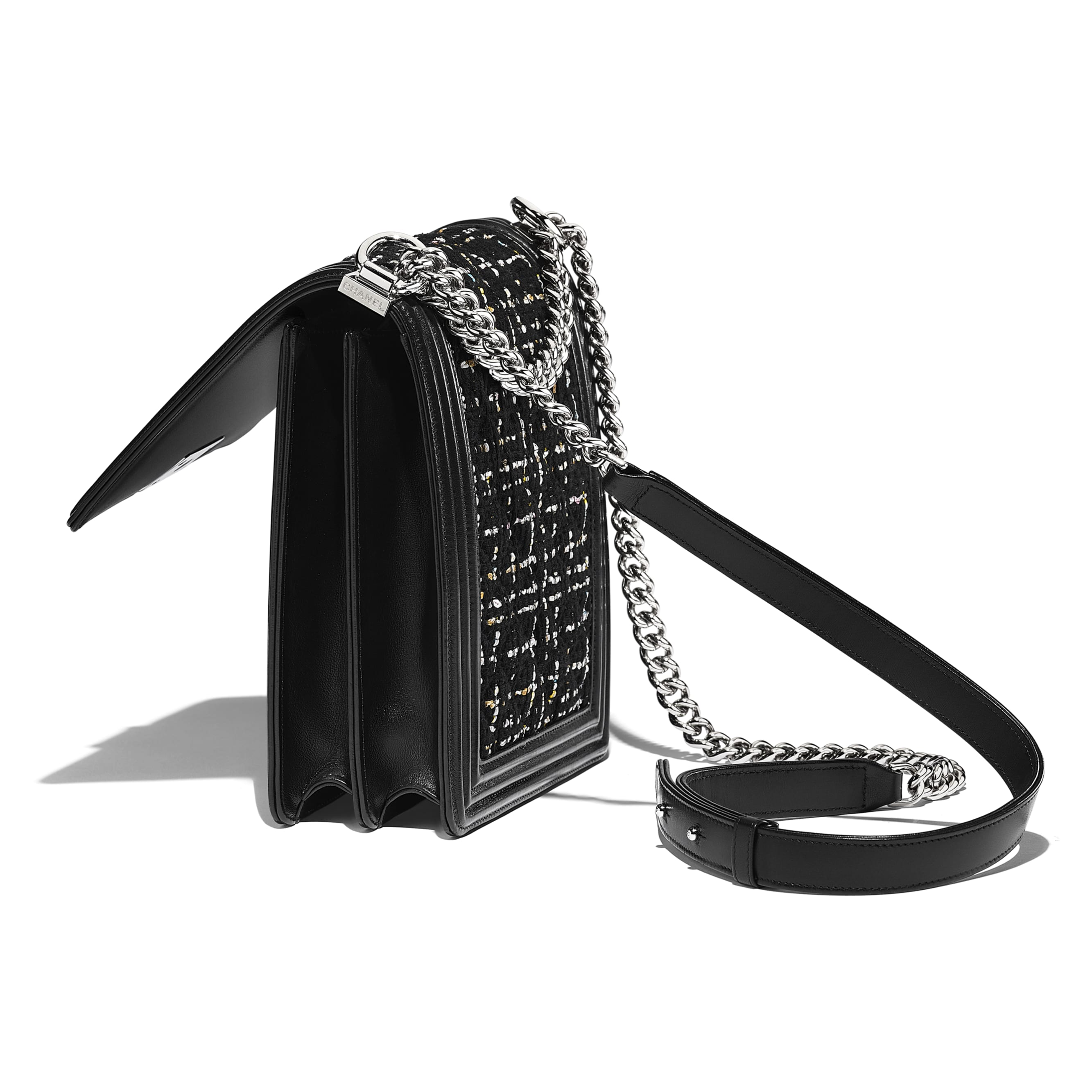 BOY CHANEL Handbag - Black, White, Pink & Yellow - Tweed, Calfskin & Silver-Tone Metal - Other view - see standard sized version