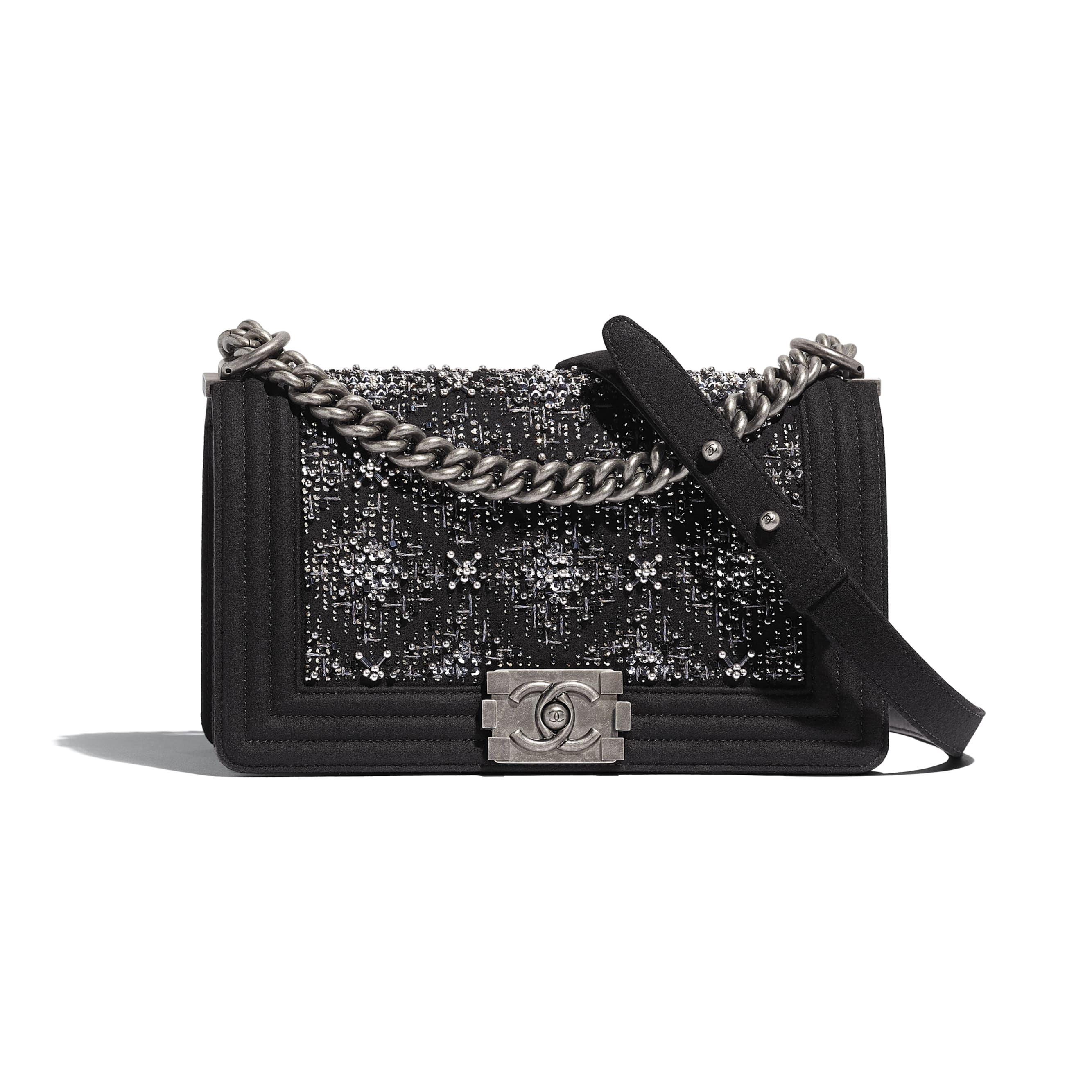 BOY CHANEL Handbag - Black - Wool, Strass & Ruthenium-Finish Metal - Default view - see standard sized version