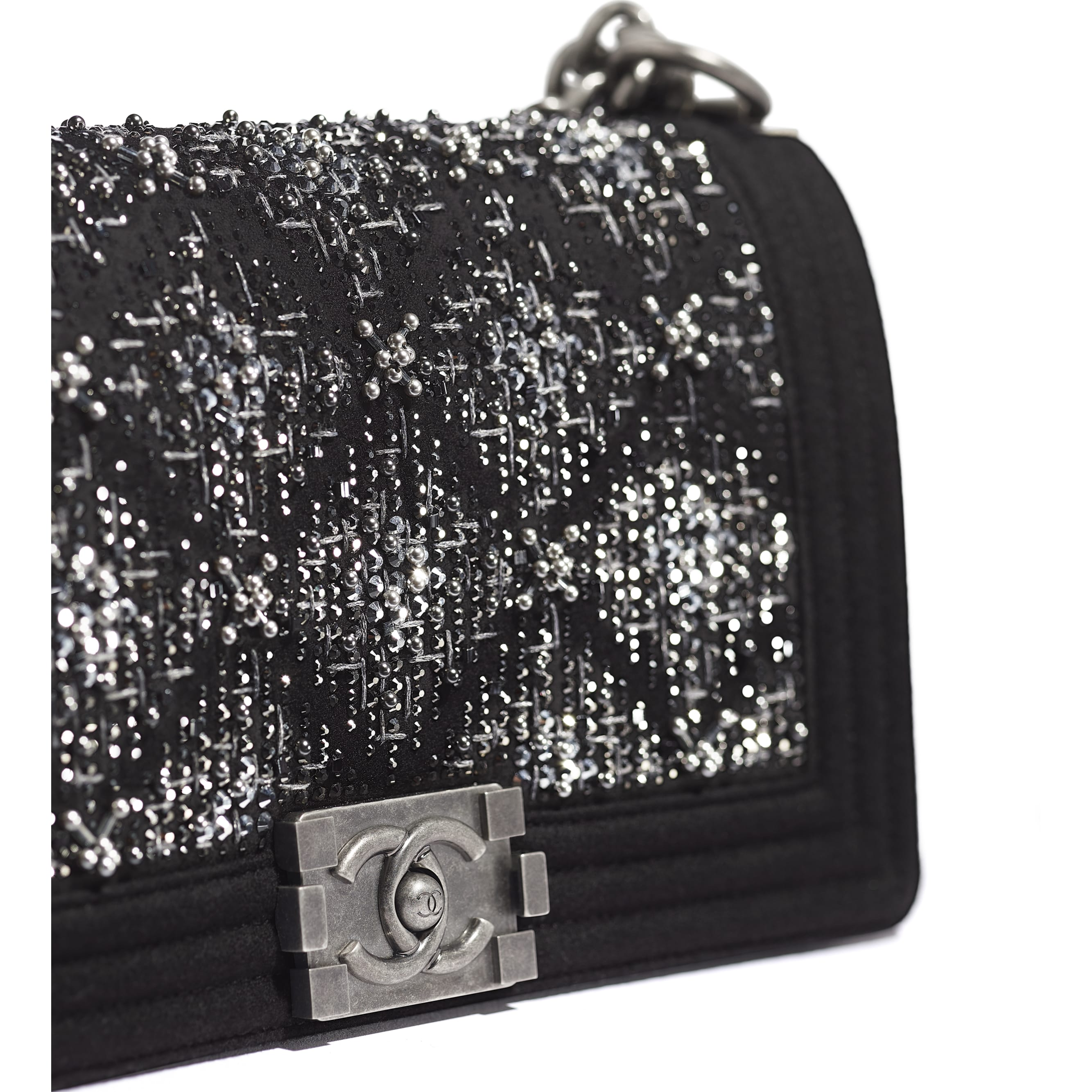 BOY CHANEL Handbag - Black - Wool, Strass & Ruthenium-Finish Metal - Extra view - see standard sized version