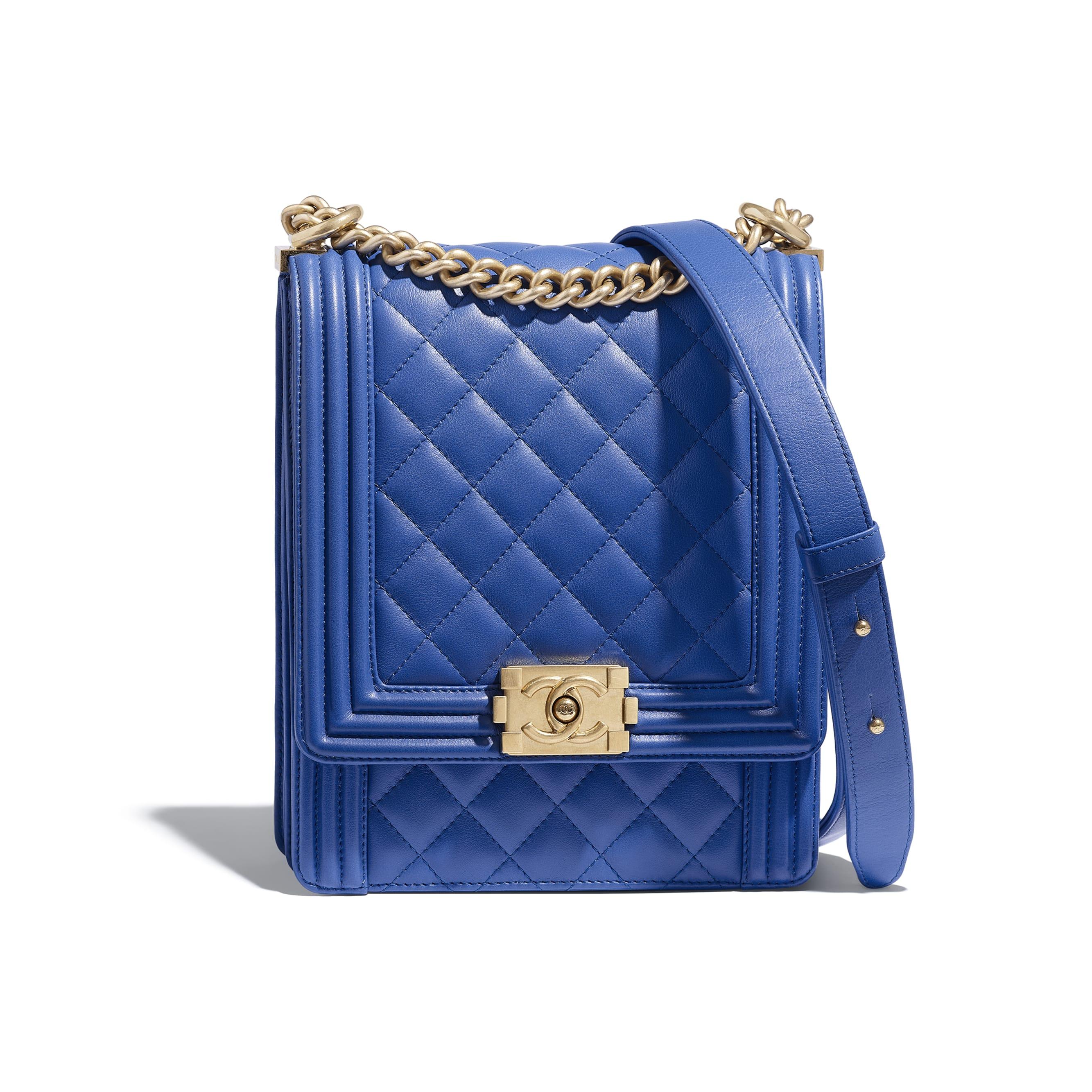 Boy Chanel Handbag Blue Calfskin Gold Tone Metal Default View