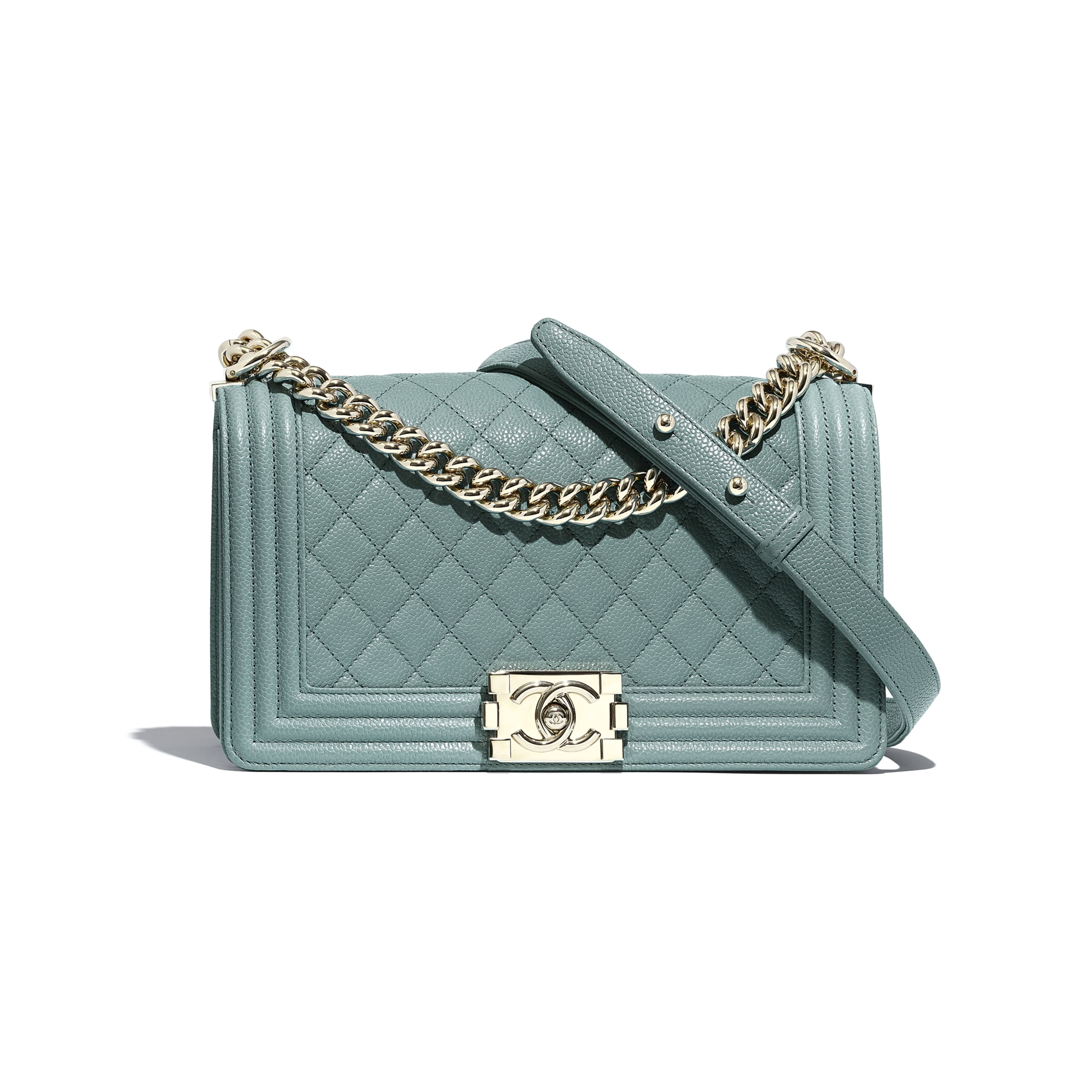 BOY CHANEL Handbag - Blue - Grained Calfskin & Gold-Tone Metal - CHANEL - Default view - see standard sized version
