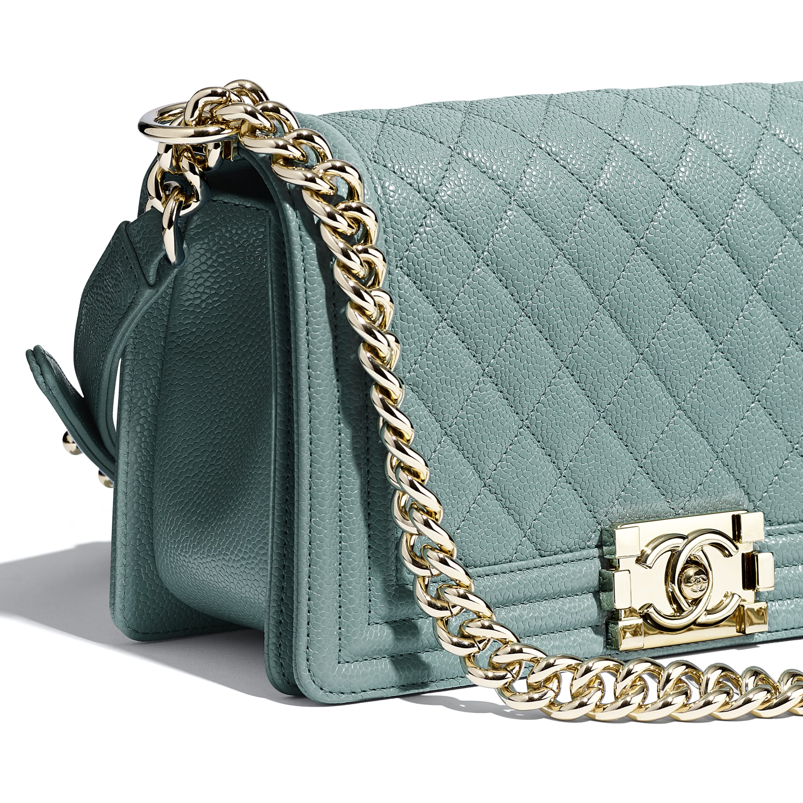 BOY CHANEL Handbag - Blue - Grained Calfskin & Gold-Tone Metal - CHANEL - Extra view - see standard sized version