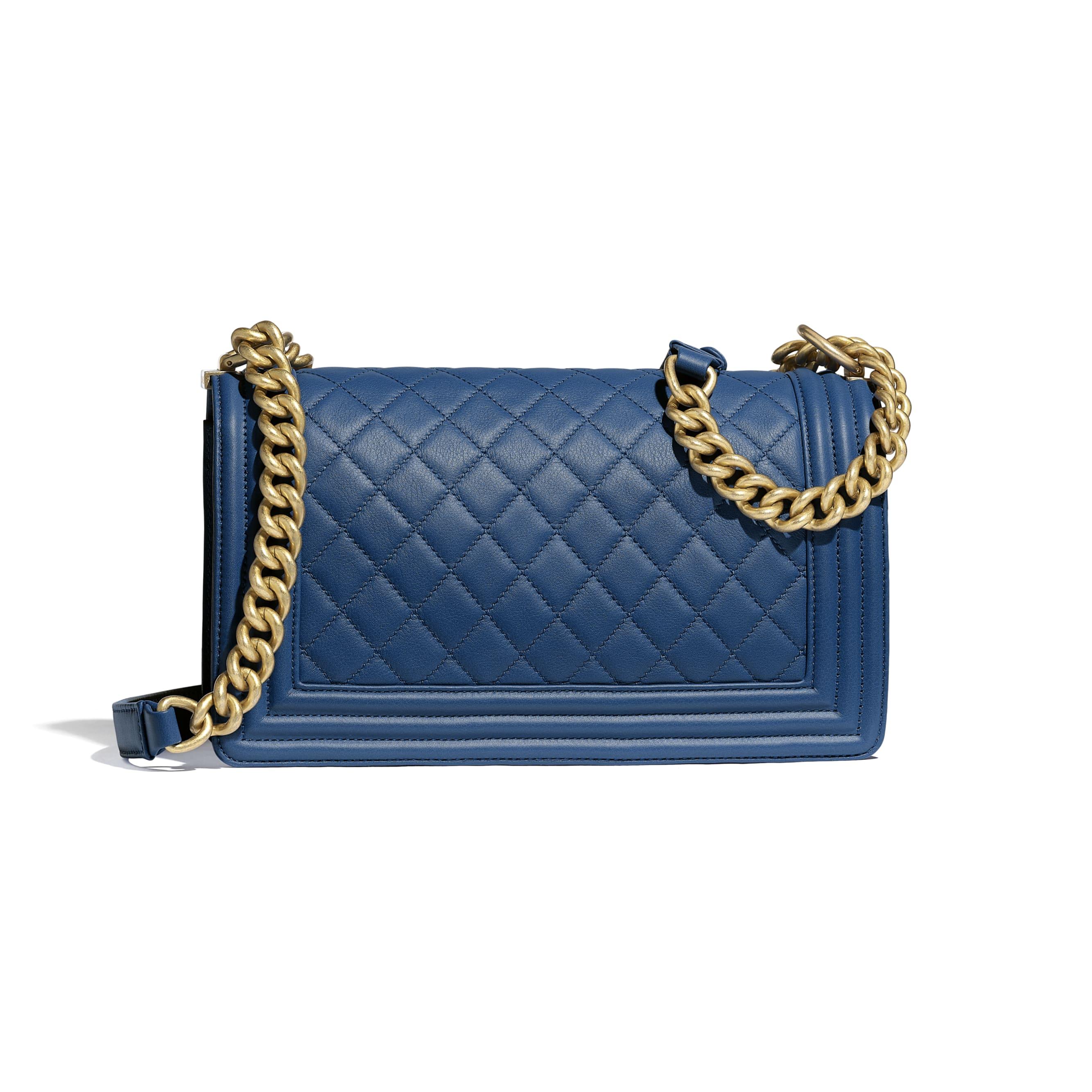 BOY CHANEL Handbag - Dark Blue - Calfskin & Gold-Tone Metal - Alternative view - see standard sized version
