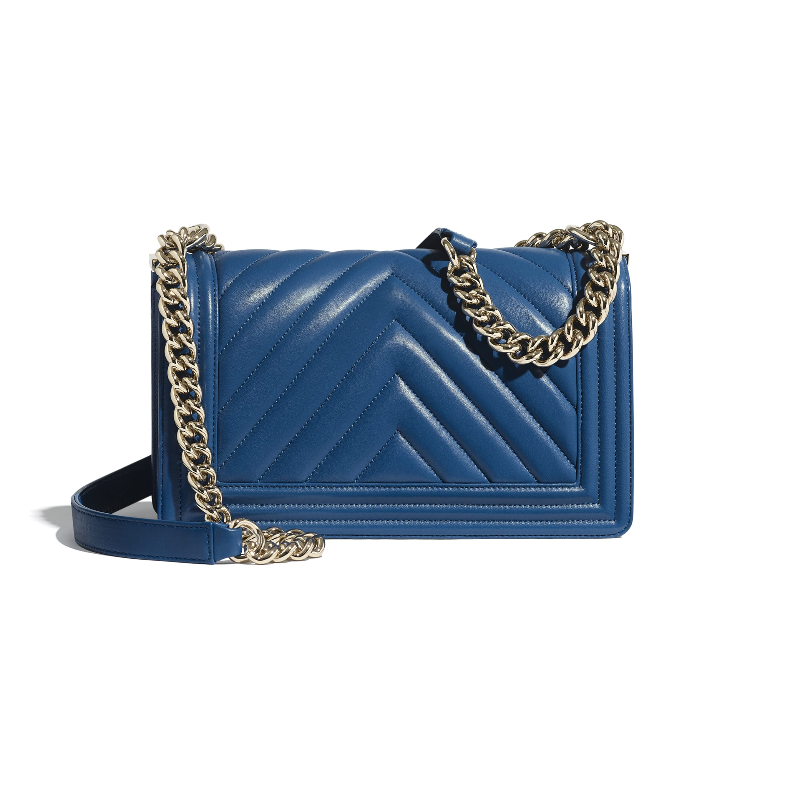 BOY CHANEL Handbag - Dark Blue - Calfskin & Gold-Tone Metal - Alternative view - see standard sized version
