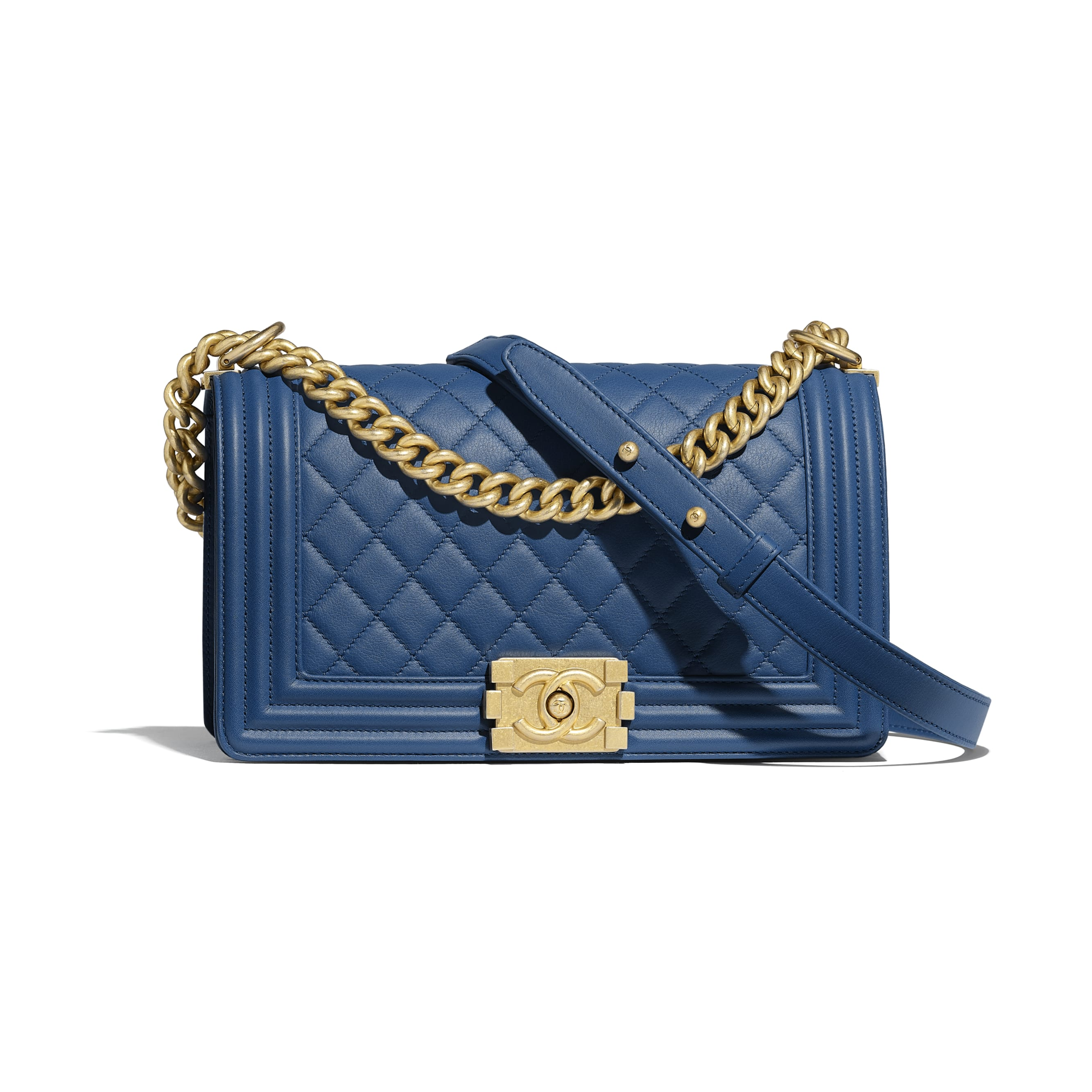BOY CHANEL Handbag - Dark Blue - Calfskin & Gold-Tone Metal - Default view - see standard sized version