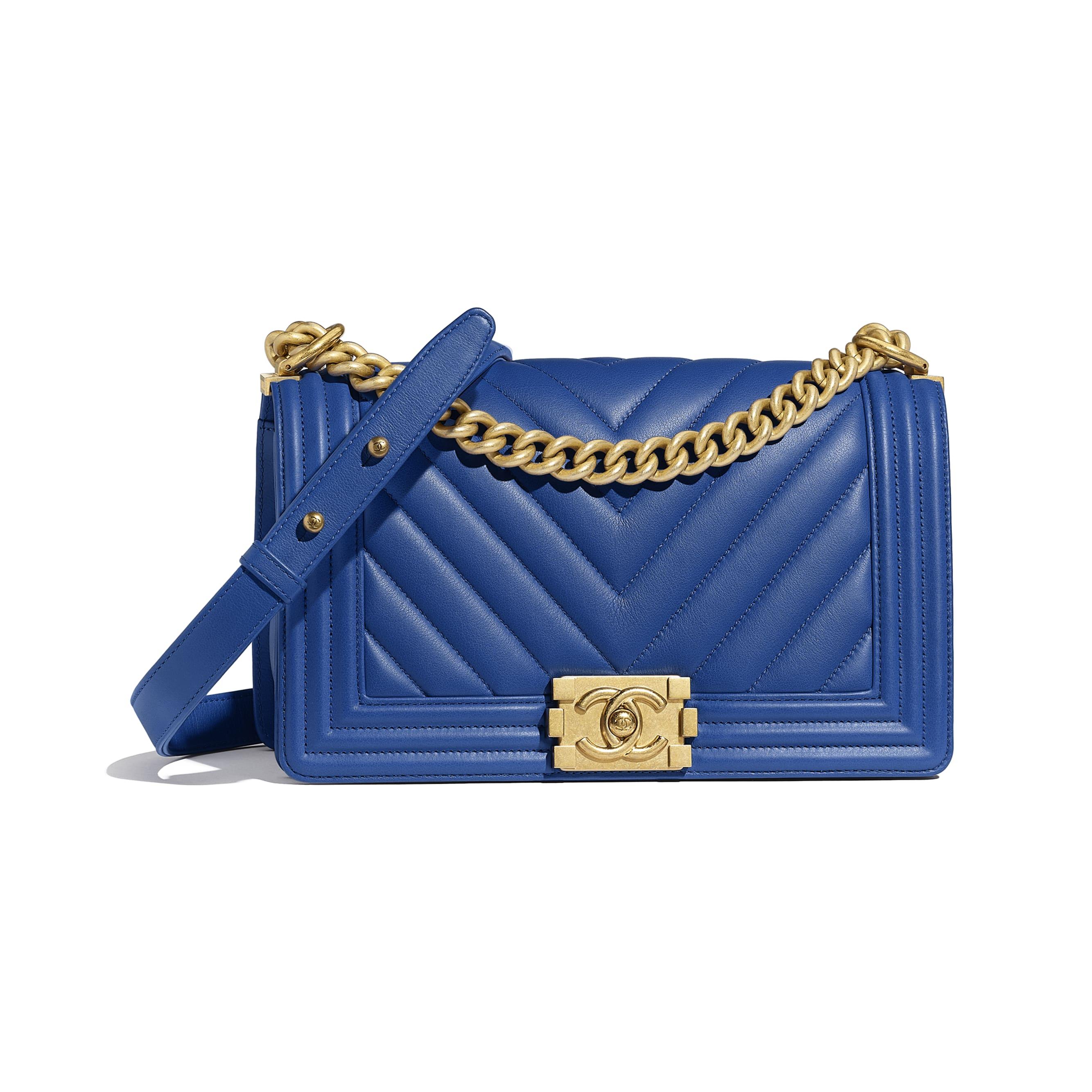11be8f09166c ... BOY CHANEL Handbag - Dark Blue - Calfskin   Gold-Tone Metal - Default  view
