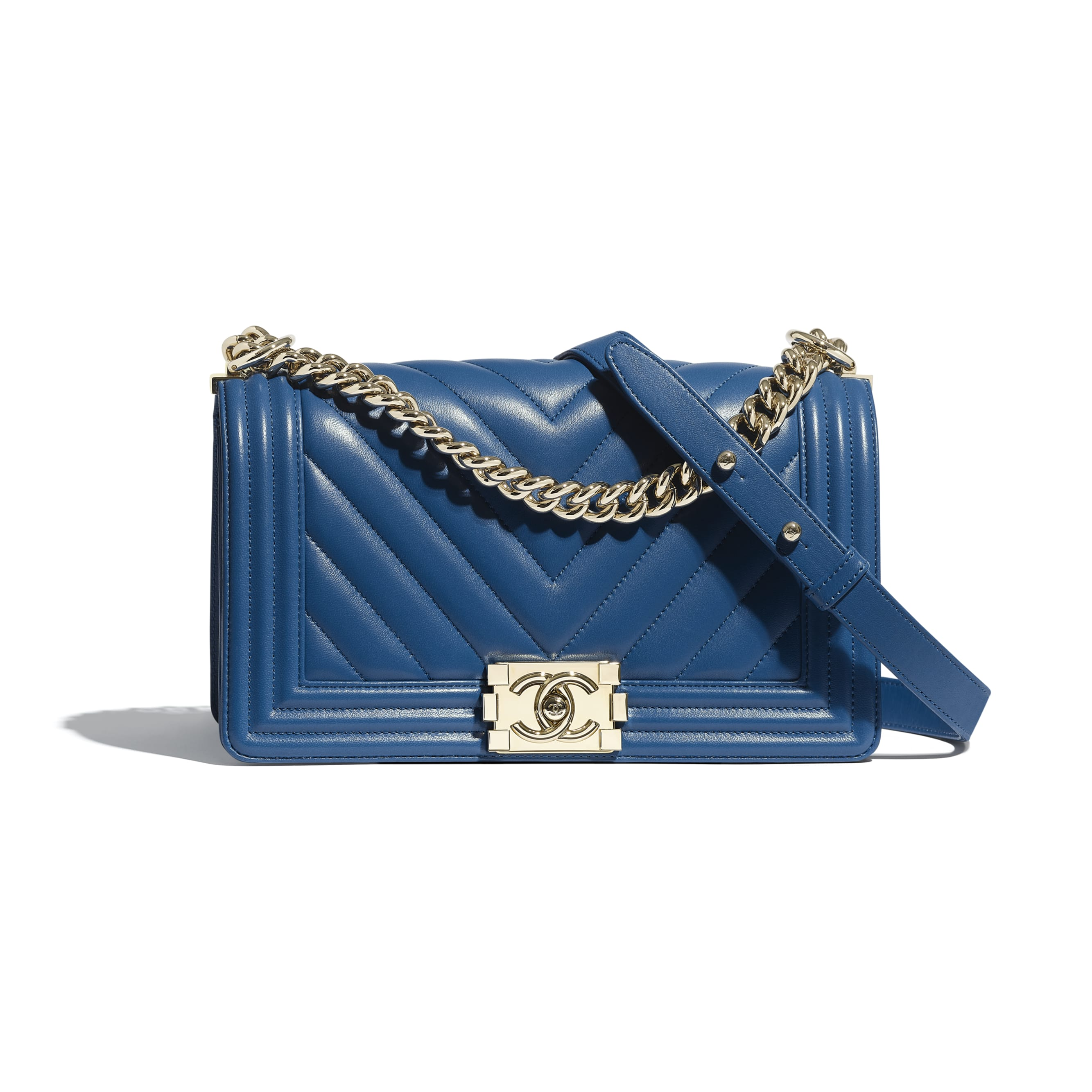 BOY CHANEL Handbag - Dark Blue - Calfskin & Gold-Tone Metal - Default view - see standard sized version