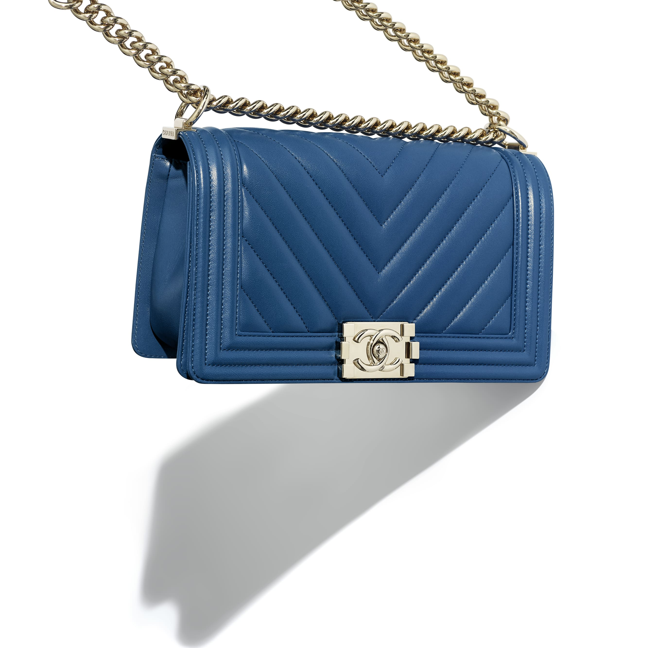 BOY CHANEL Handbag - Dark Blue - Calfskin & Gold-Tone Metal - Extra view - see standard sized version
