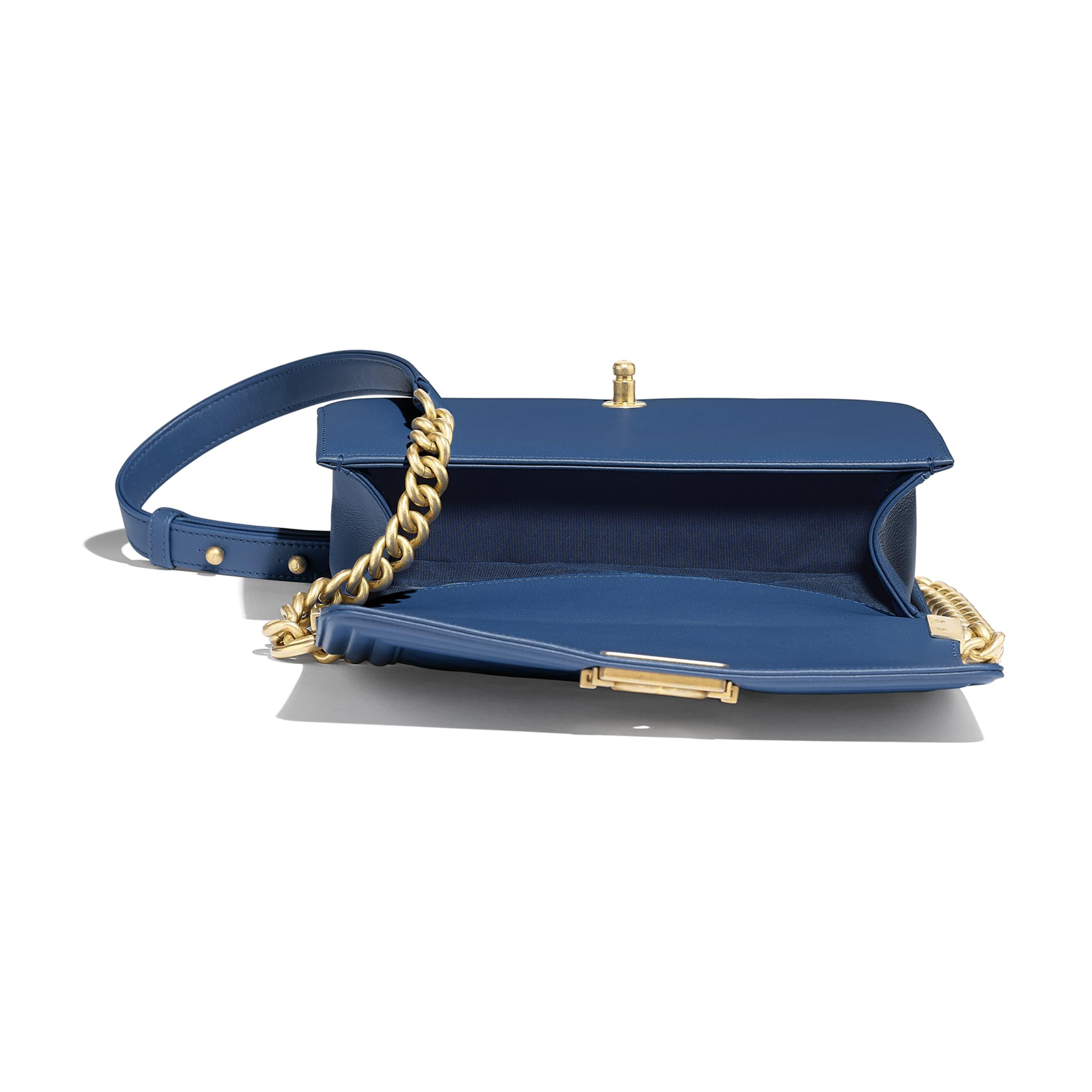 BOY CHANEL Handbag - Dark Blue - Calfskin & Gold-Tone Metal - Other view - see standard sized version