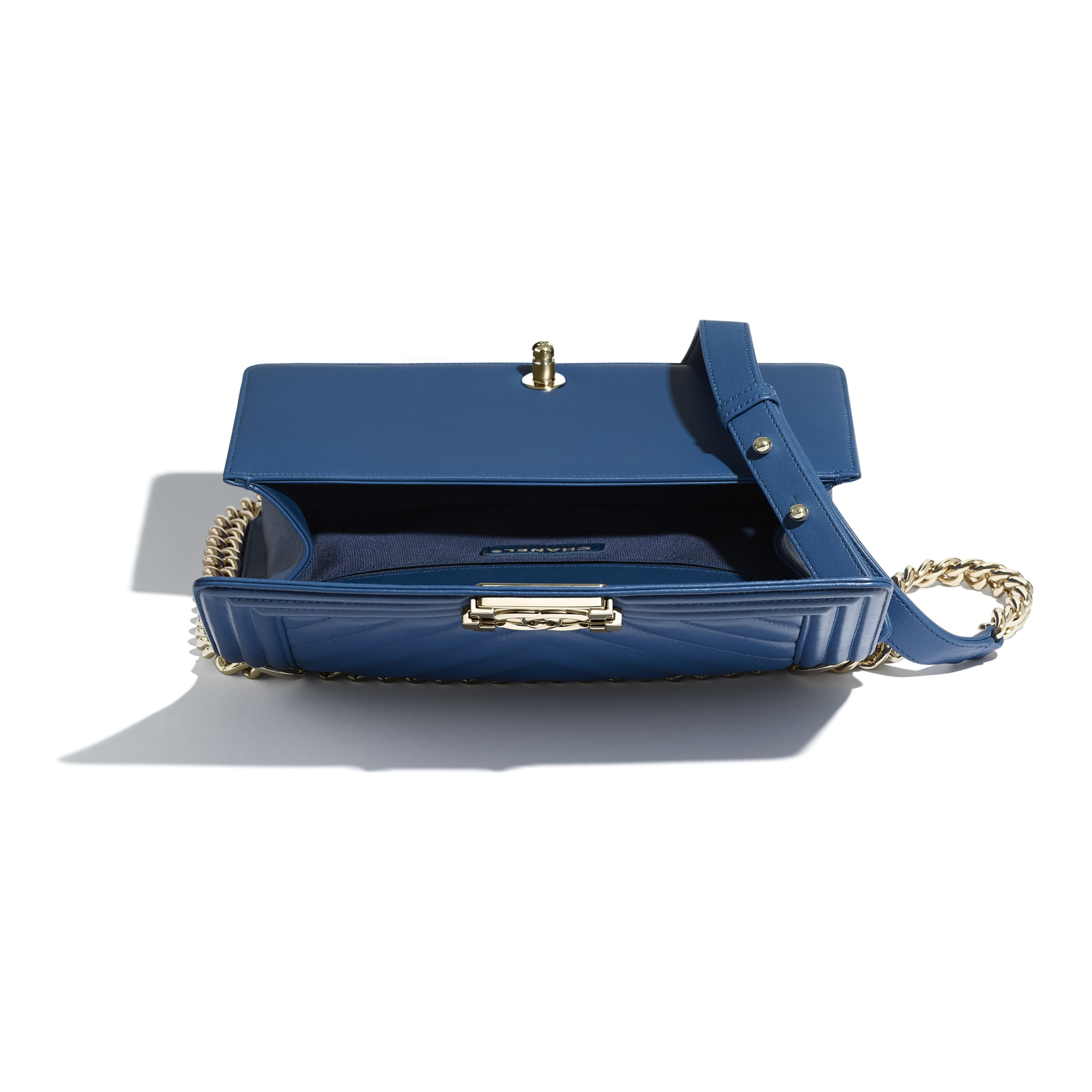 BOY CHANEL Handbag - Dark Blue - Calfskin & Gold-Tone Metal - Other view - see standard sized version