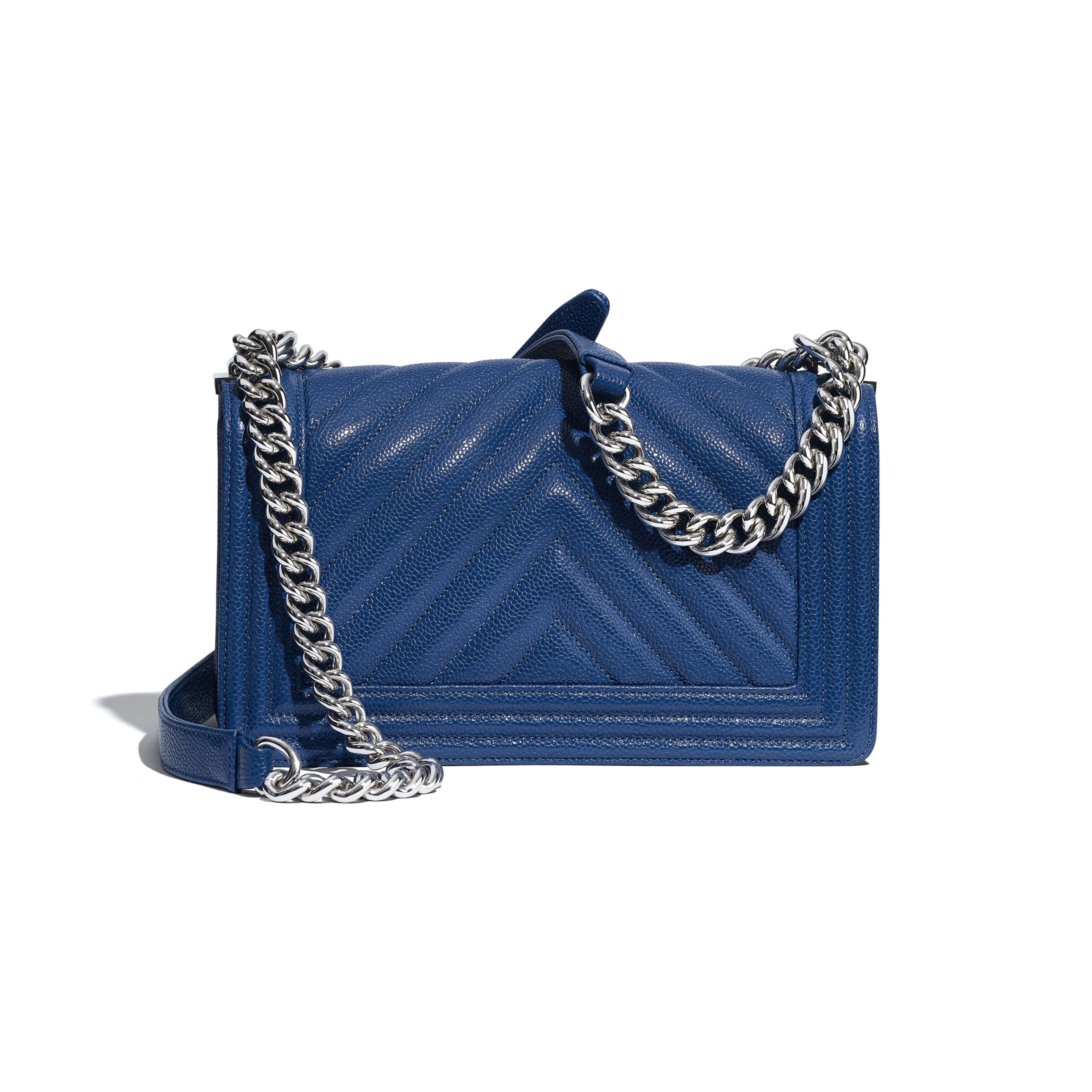 BOY CHANEL Handbag - Dark Blue - Grained Calfskin & Silver Metal - Alternative view - see standard sized version