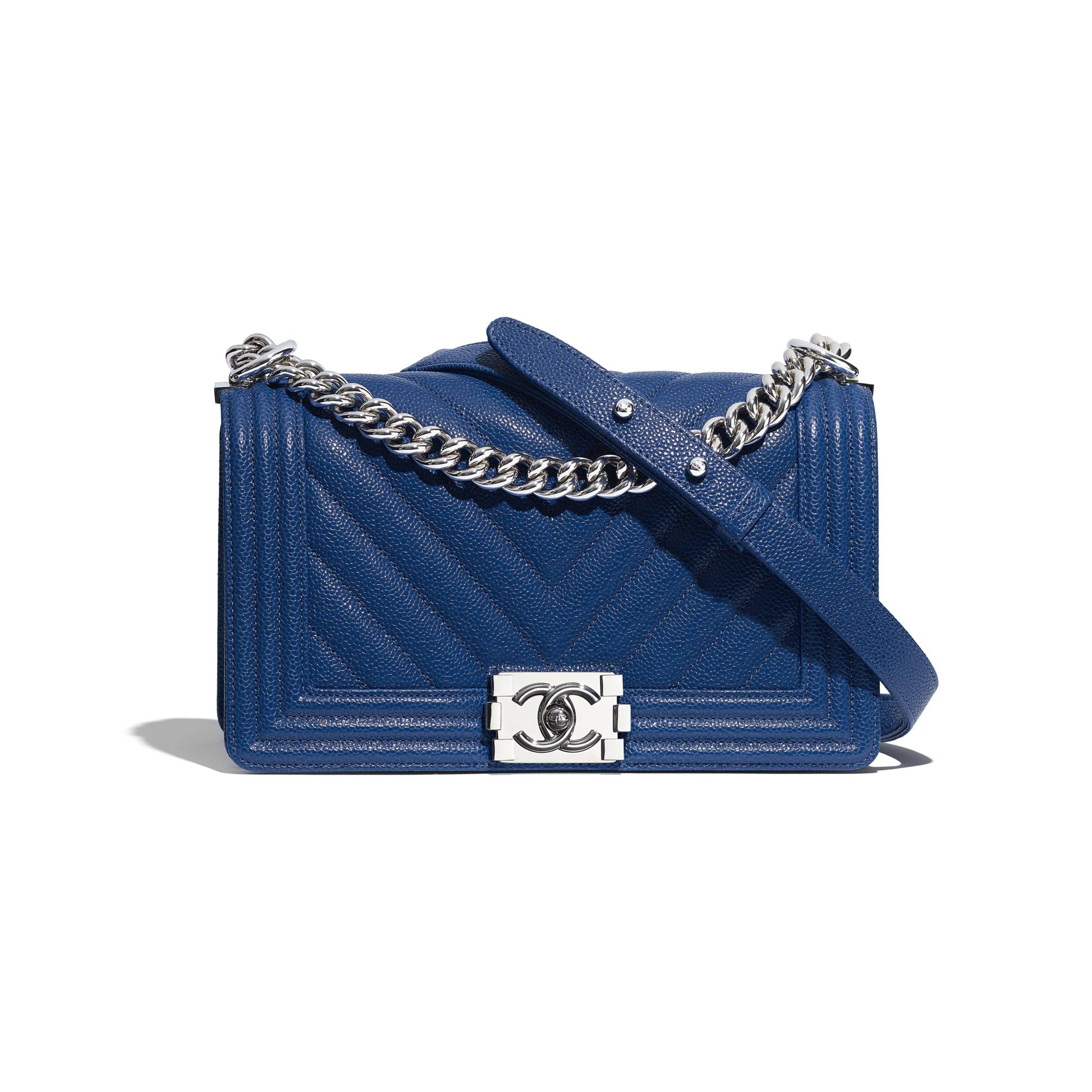 BOY CHANEL Handbag - Dark Blue - Grained Calfskin & Silver Metal - Default view - see standard sized version